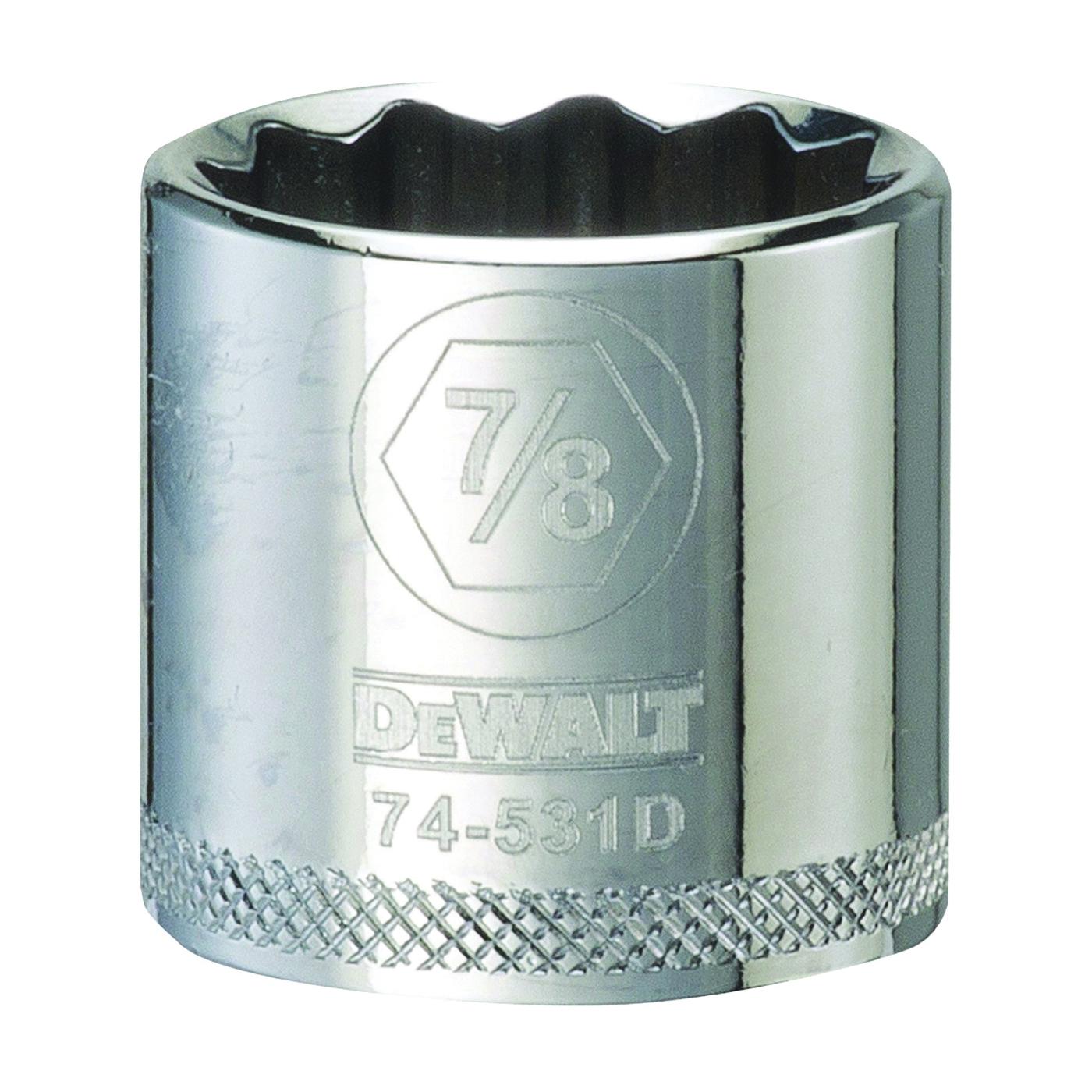 Picture of DeWALT DWMT74531OSP Hand Socket, 7/8 in Socket, 3/8 in Drive, 12 -Point, Vanadium Steel, Polished Chrome