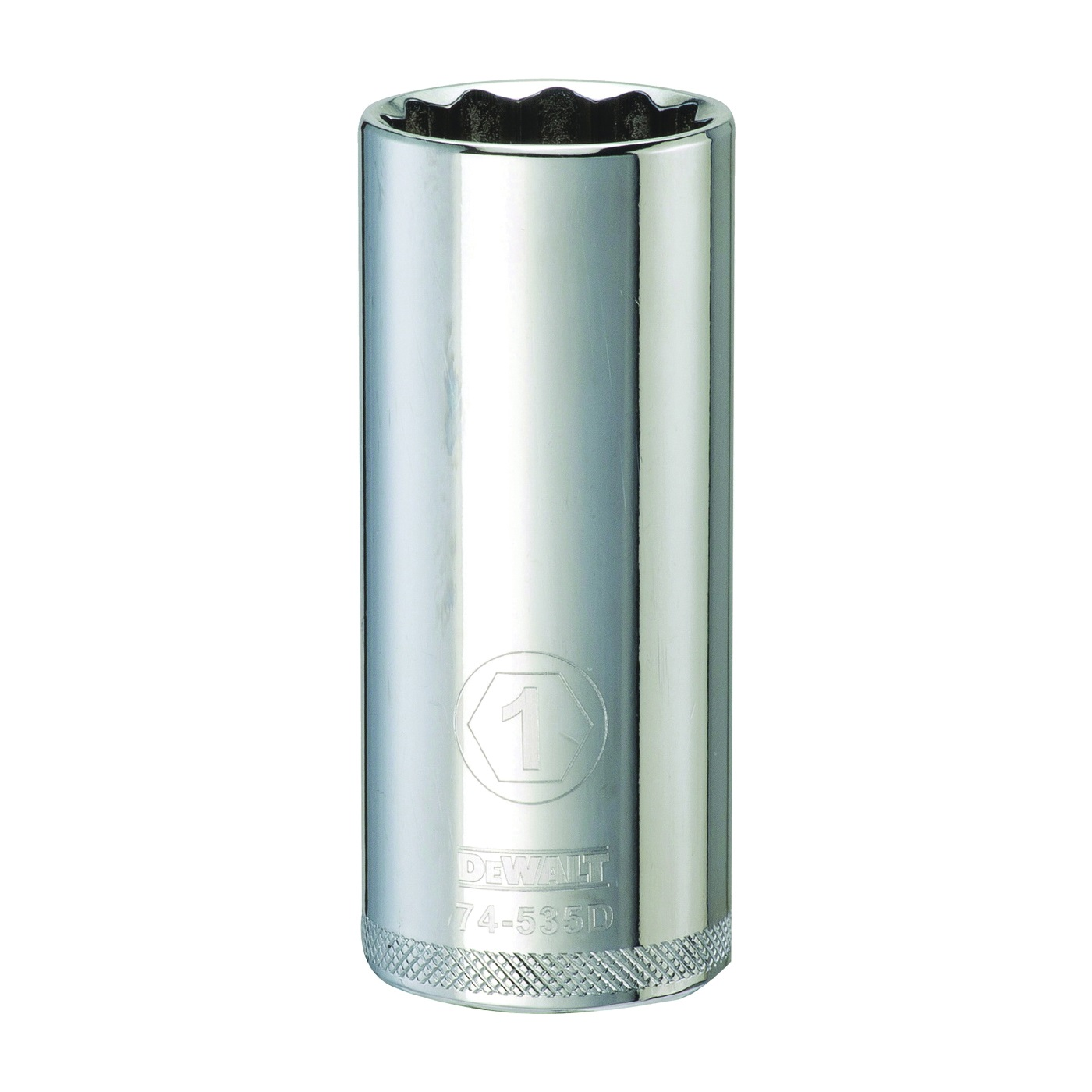 Picture of DeWALT DWMT74535OSP Drive Socket, 1 in Socket, 1/2 in Drive, 12 -Point, Vanadium Steel, Polished Chrome
