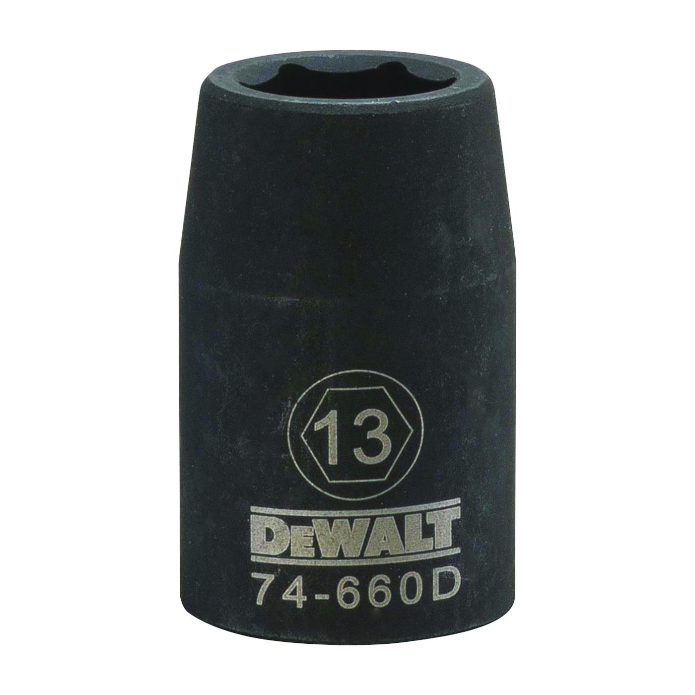 Picture of DeWALT DWMT74660OSP Impact Socket, 13 mm Socket, 1/2 in Drive, 6 -Point, CR-440 Steel, Black Oxide