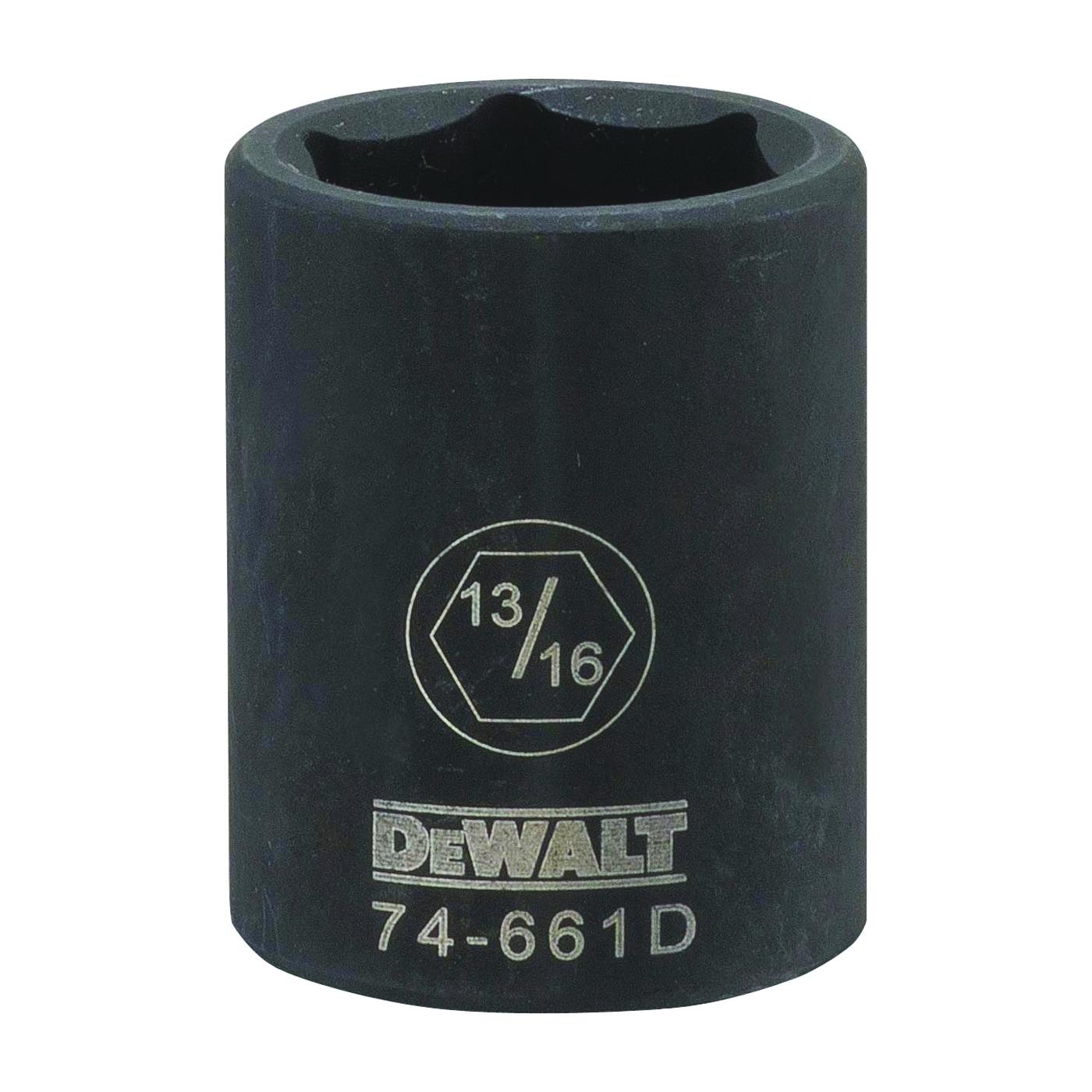Picture of DeWALT DWMT74661OSP Impact Socket, 13/16 in Socket, 1/2 in Drive, 6 -Point, CR-440 Steel, Black Oxide
