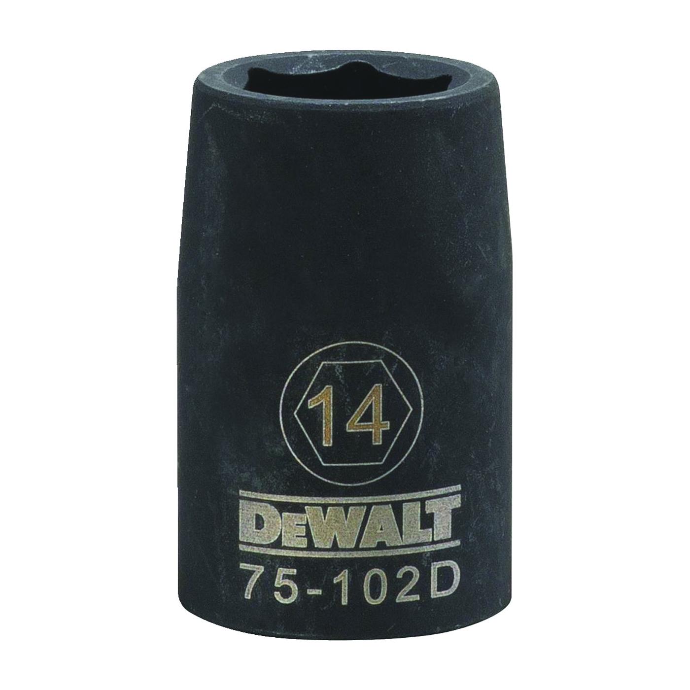 Picture of DeWALT DWMT75102OSP Deep Impact Socket, 14 mm Socket, 1/2 in Drive, 6 -Point, Steel, Black Oxide