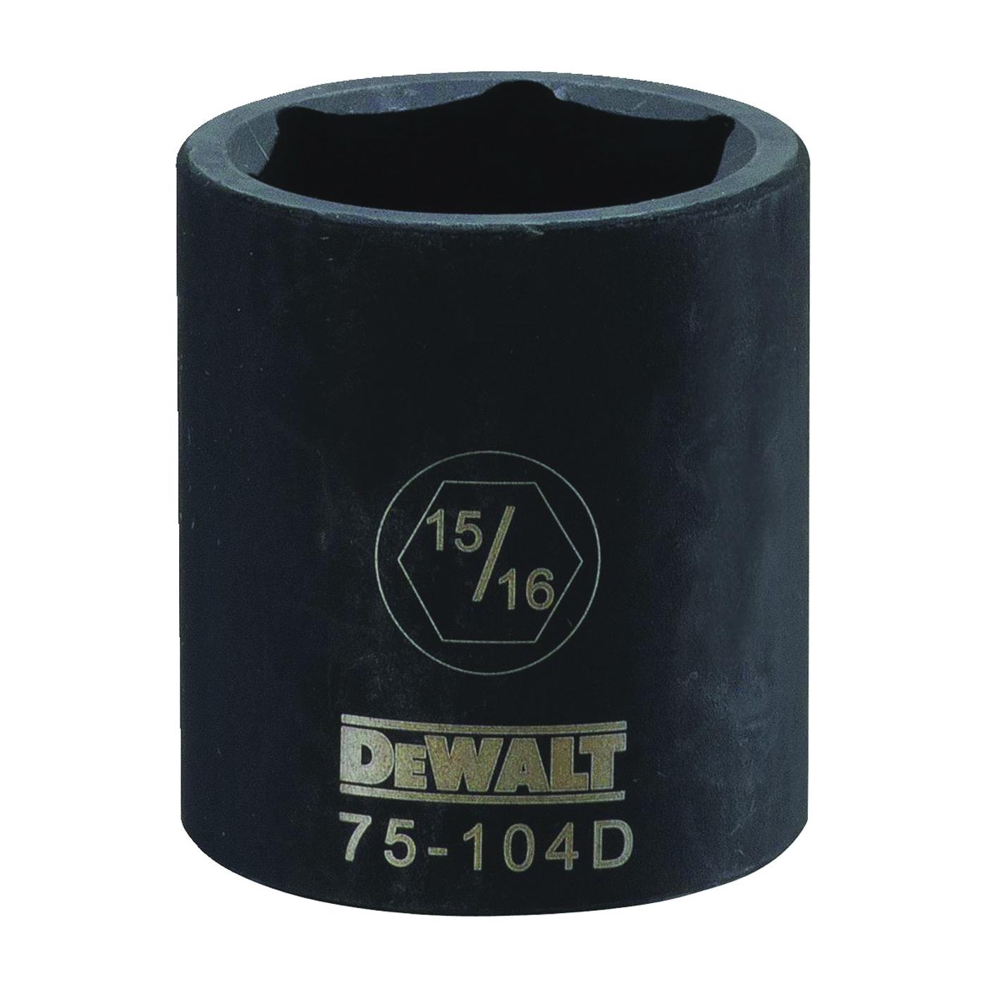 Picture of DeWALT DWMT75104OSP Deep Impact Socket, 15/16 in Socket, 1/2 in Drive, 6 -Point, Steel, Black Oxide