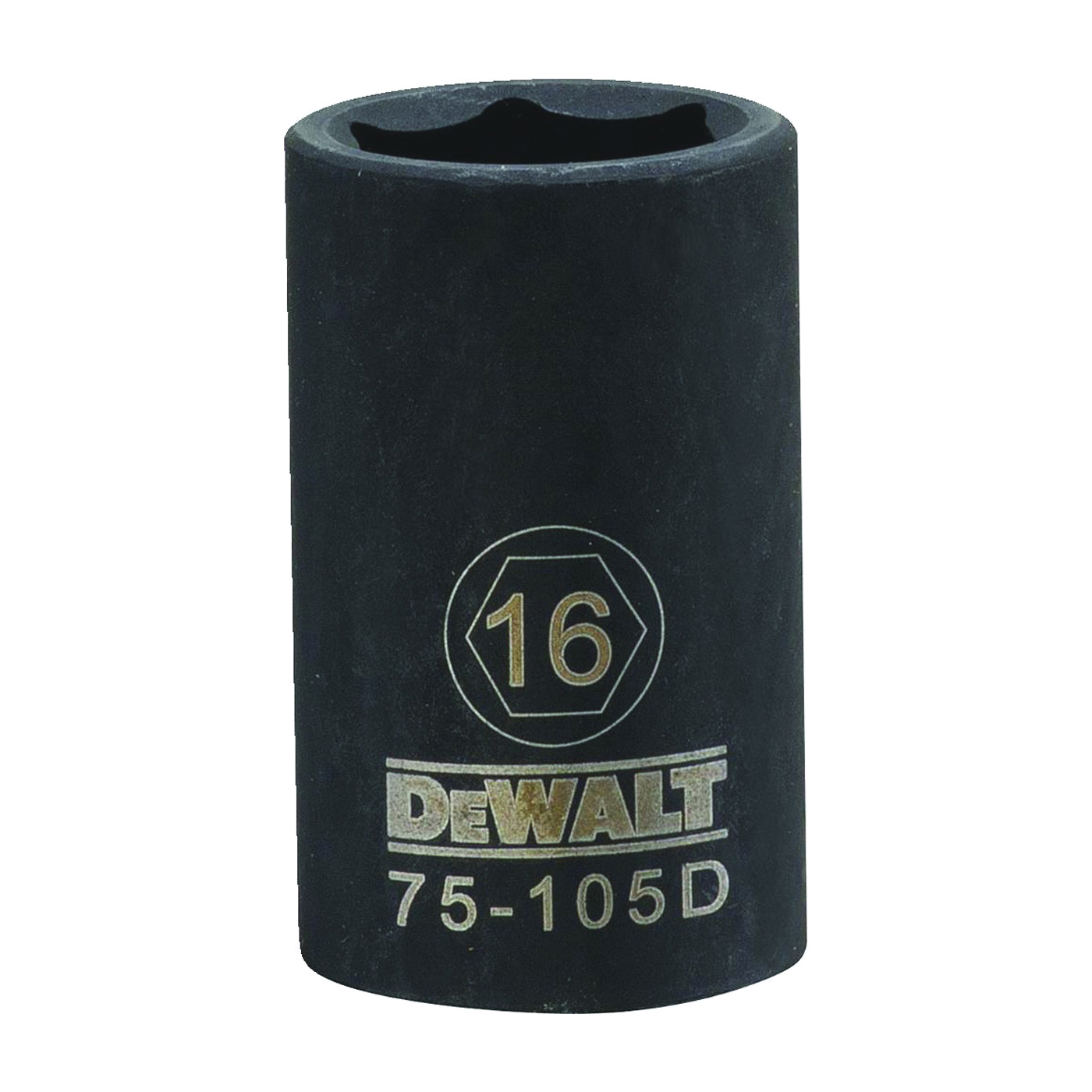 Picture of DeWALT DWMT75105OSP Deep Impact Socket, 16 mm Socket, 1/2 in Drive, 6 -Point, Steel, Black Oxide