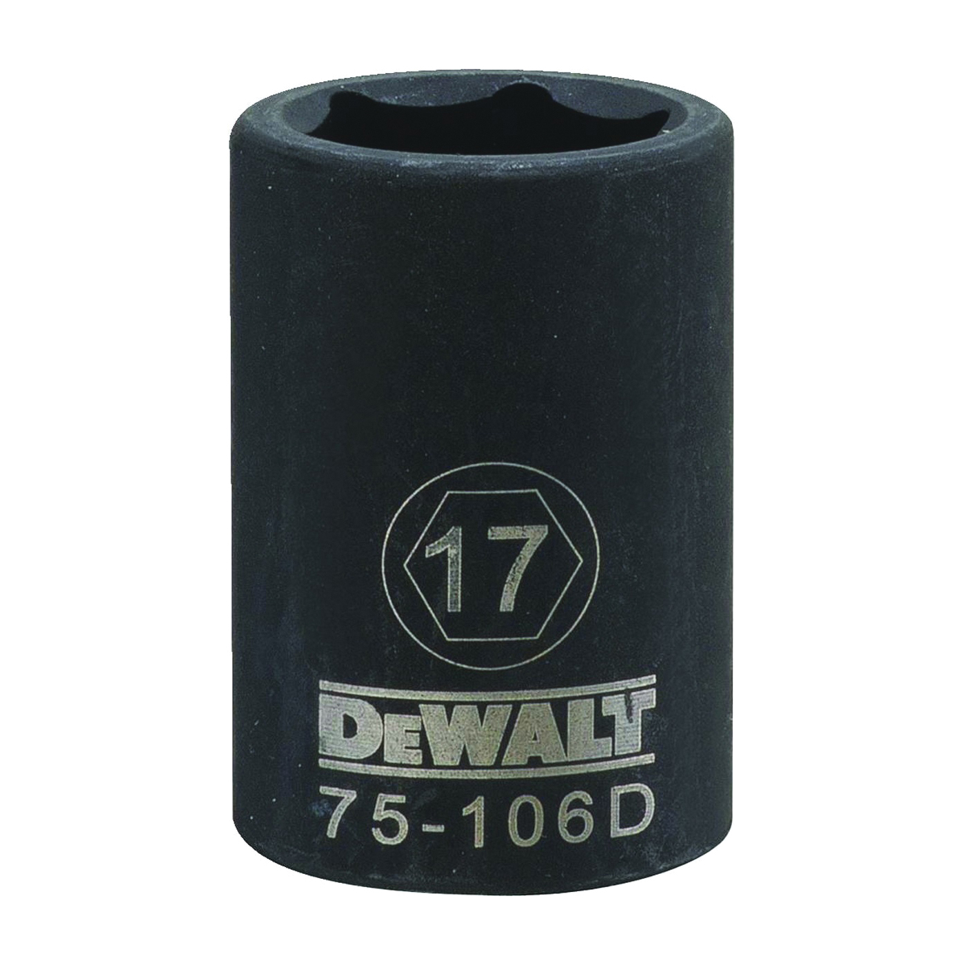 Picture of DeWALT DWMT75106OSP Deep Impact Socket, 17 mm Socket, 1/2 in Drive, 6 -Point, Steel, Black Oxide