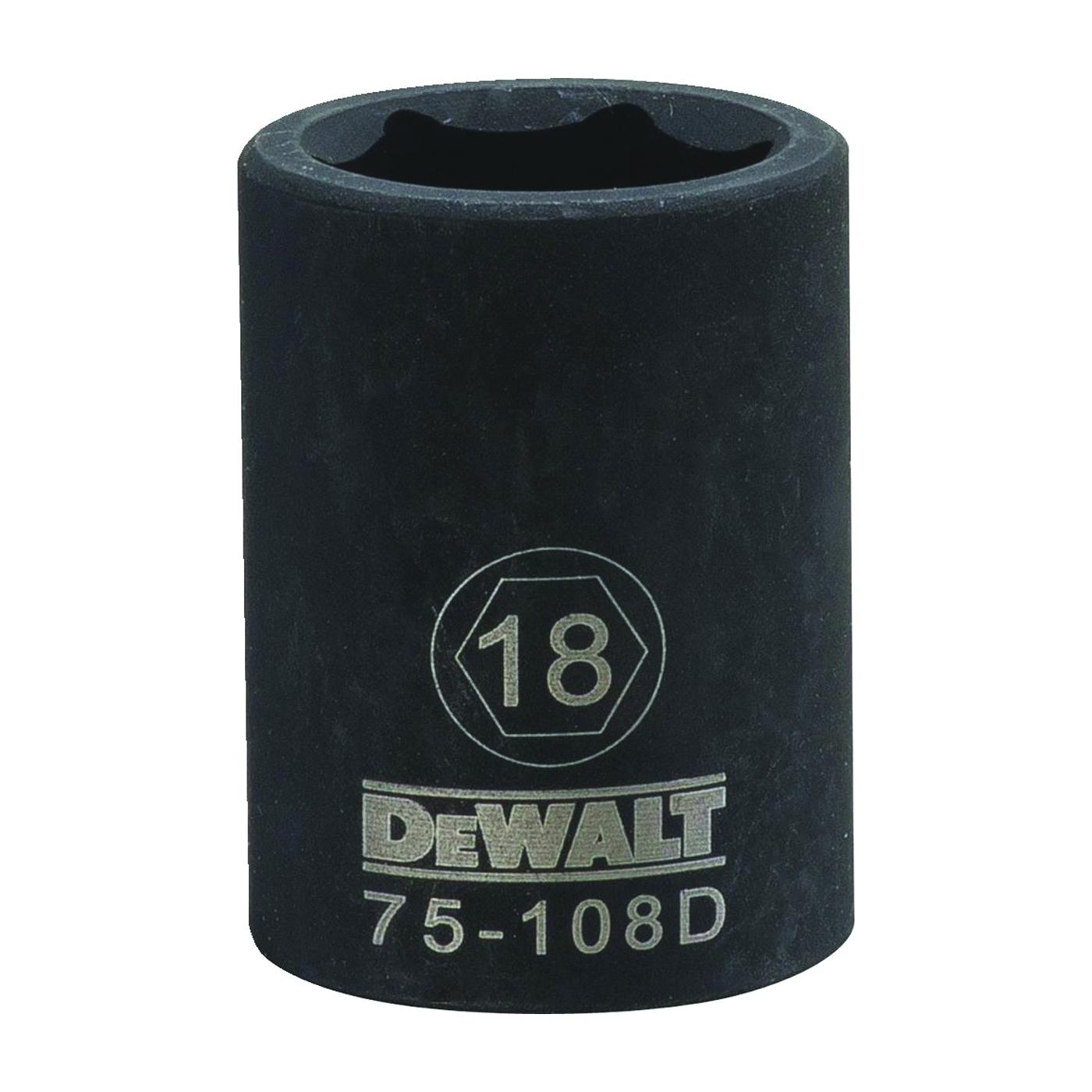 Picture of DeWALT DWMT75108OSP Deep Impact Socket, 18 mm Socket, 1/2 in Drive, 6 -Point, Steel, Black Oxide