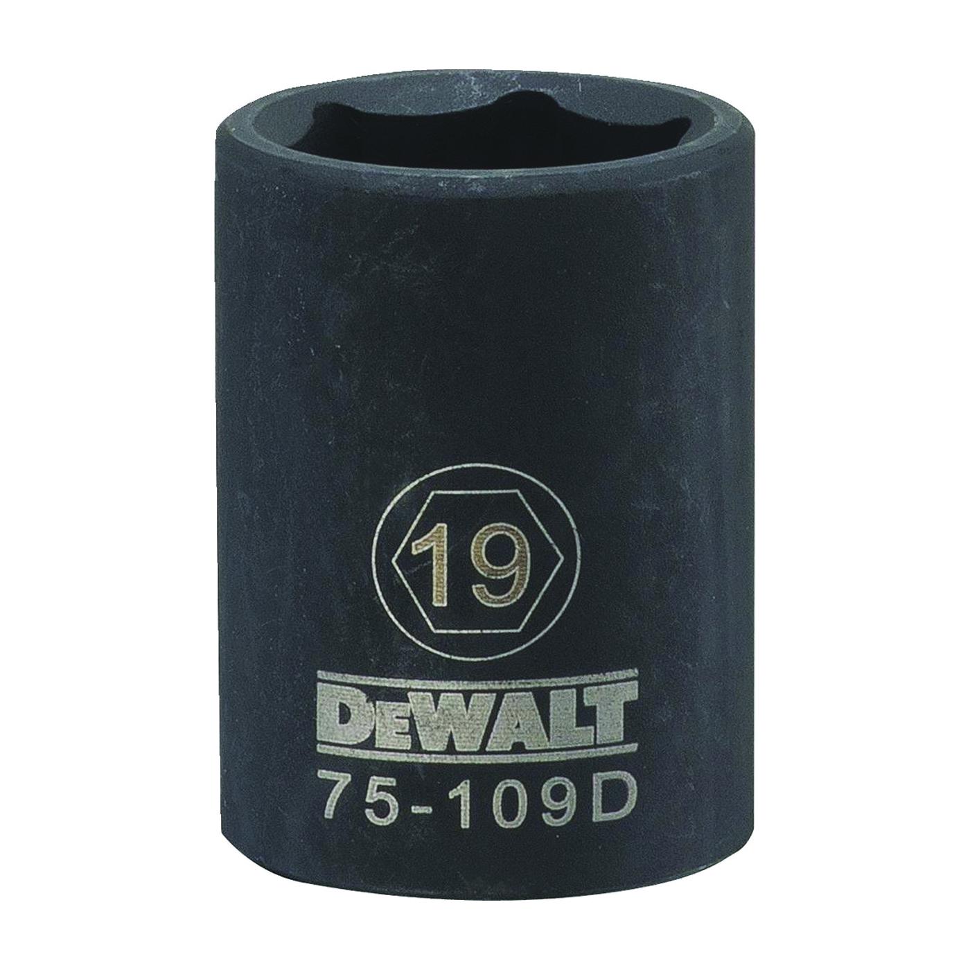 Picture of DeWALT DWMT75109OSP Deep Impact Socket, 19 mm Socket, 1/2 in Drive, 6 -Point, Steel, Black Oxide