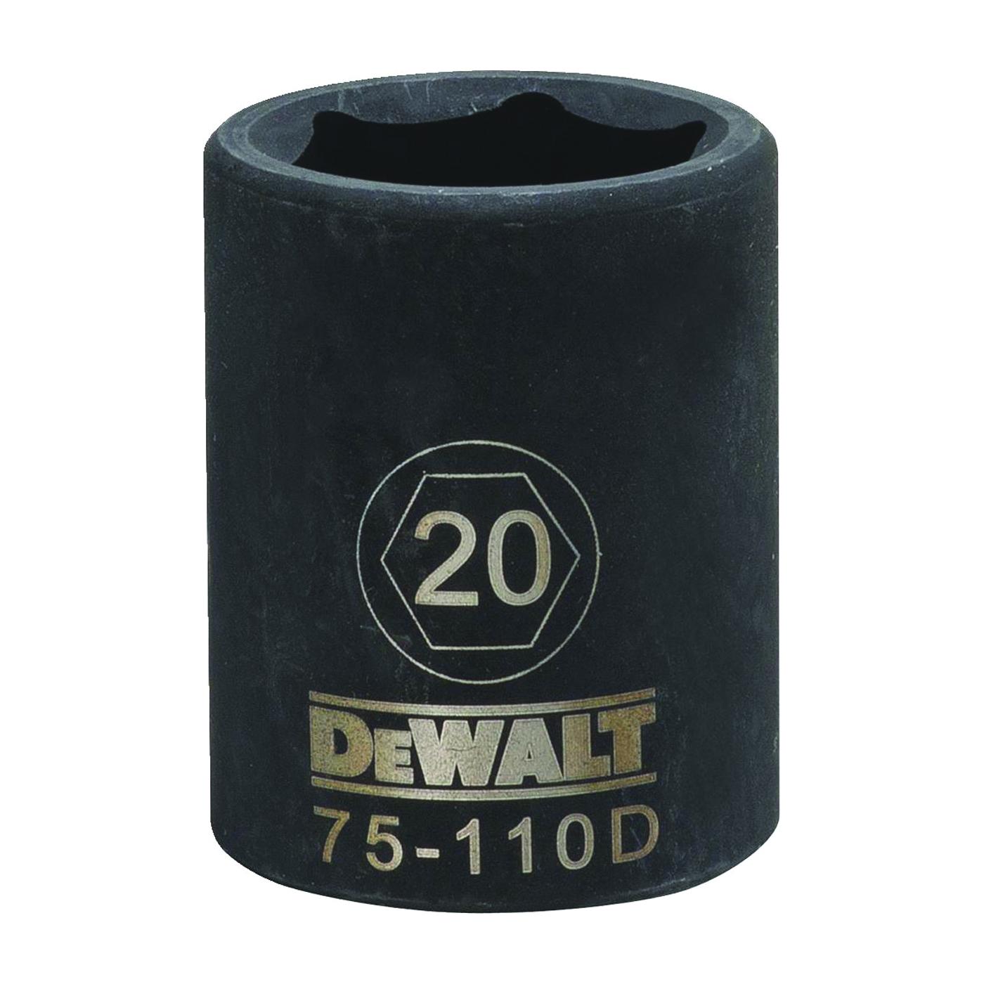 Picture of DeWALT DWMT75110OSP Deep Impact Socket, 20 mm Socket, 1/2 in Drive, 6 -Point, Steel, Black Oxide