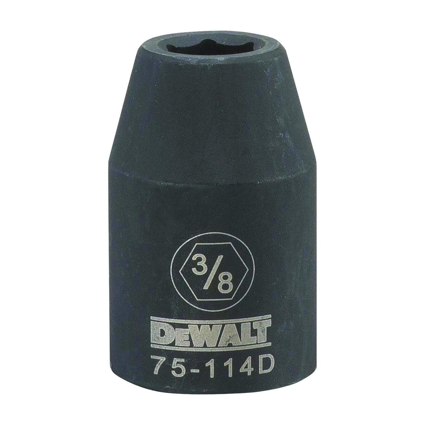Picture of DeWALT DWMT75114OSP Deep Impact Socket, 3/8 in Socket, 1/2 in Drive, 6 -Point, Steel, Black Oxide