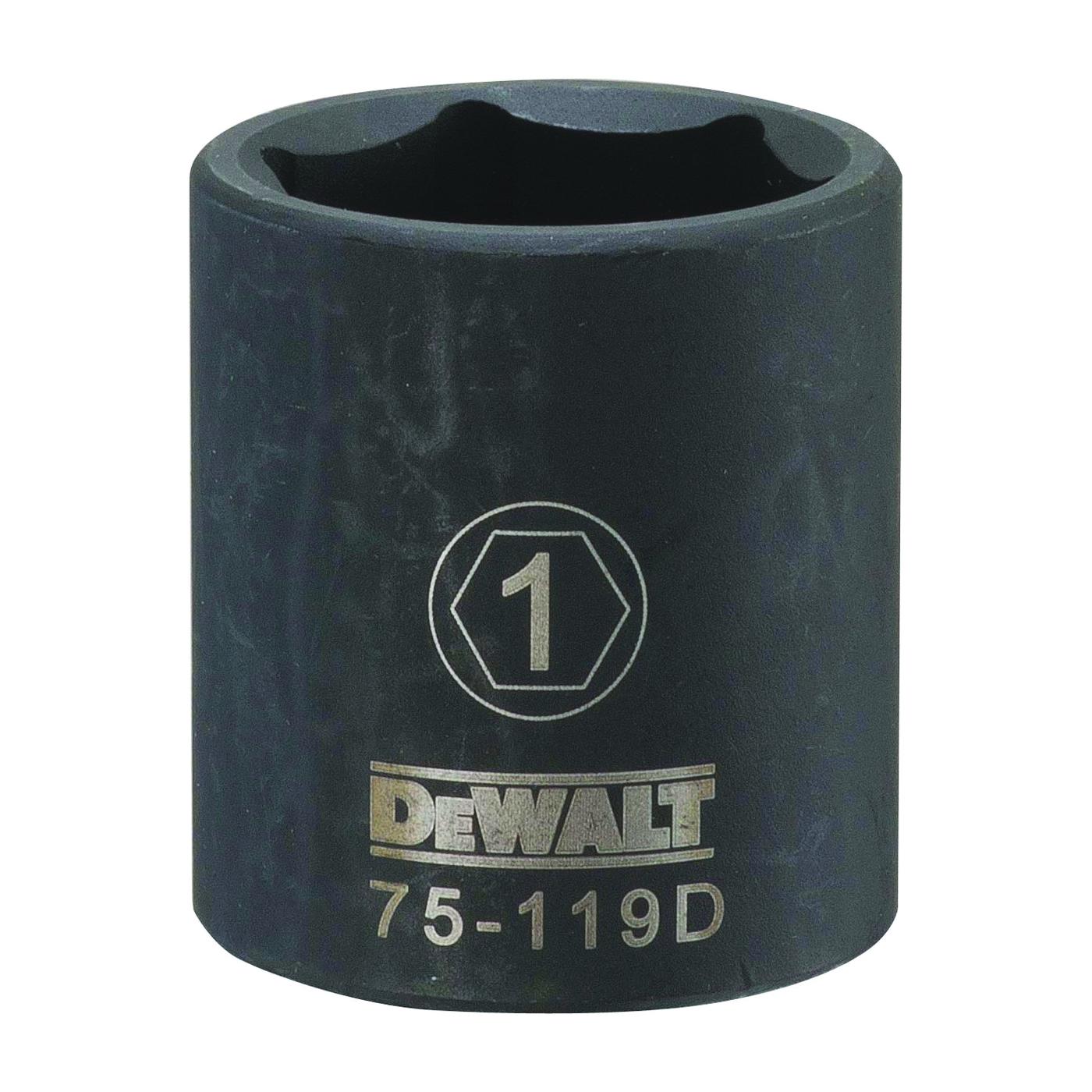 Picture of DeWALT DWMT75119OSP Deep Impact Socket, 1 in Socket, 1/2 in Drive, 6 -Point, Steel, Black Oxide