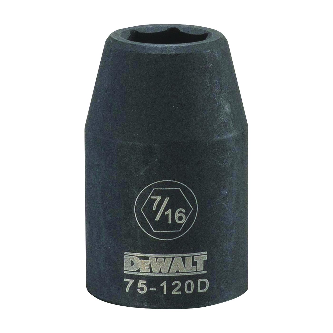 Picture of DeWALT DWMT75120OSP Deep Impact Socket, 7/16 in Socket, 1/2 in Drive, 6 -Point, Steel, Black Oxide