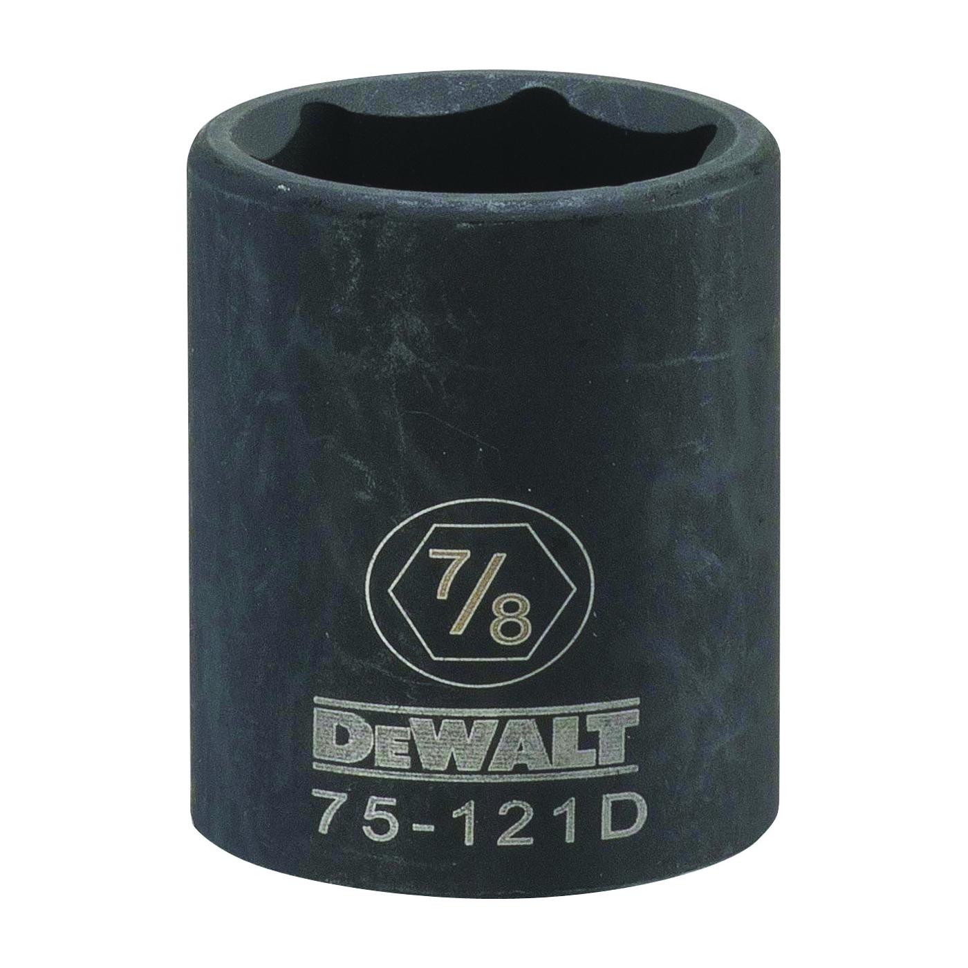 Picture of DeWALT DWMT75121OSP Deep Impact Socket, 7/8 in Socket, 1/2 in Drive, 6 -Point, Steel, Black Oxide