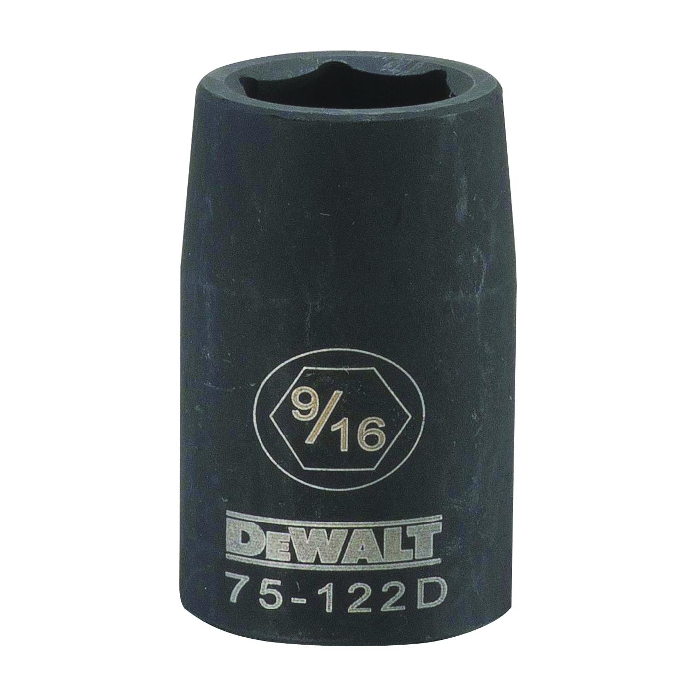 Picture of DeWALT DWMT75122OSP Deep Impact Socket, 9/16 in Socket, 1/2 in Drive, 6 -Point, Steel, Black Oxide