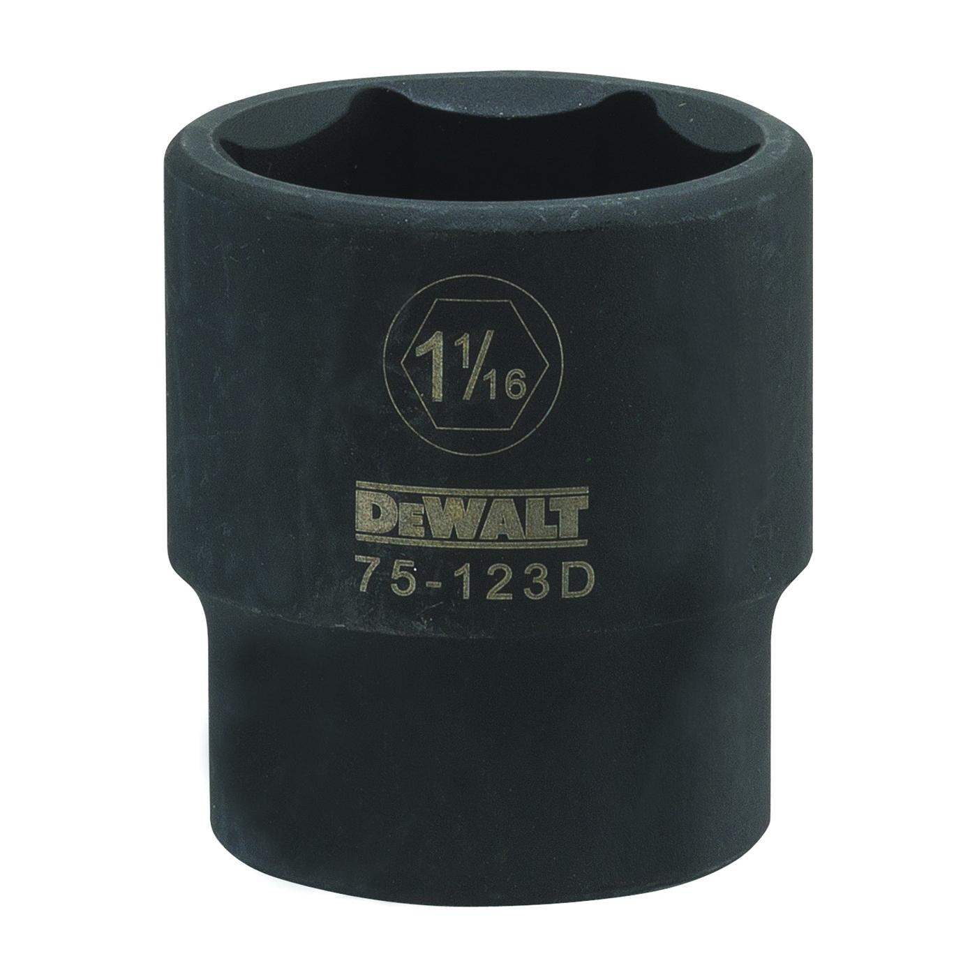 Picture of DeWALT DWMT75123OSP Deep Impact Socket, 1-1/16 in Socket, 1/2 in Drive, 6 -Point, Vanadium Steel, Chrome