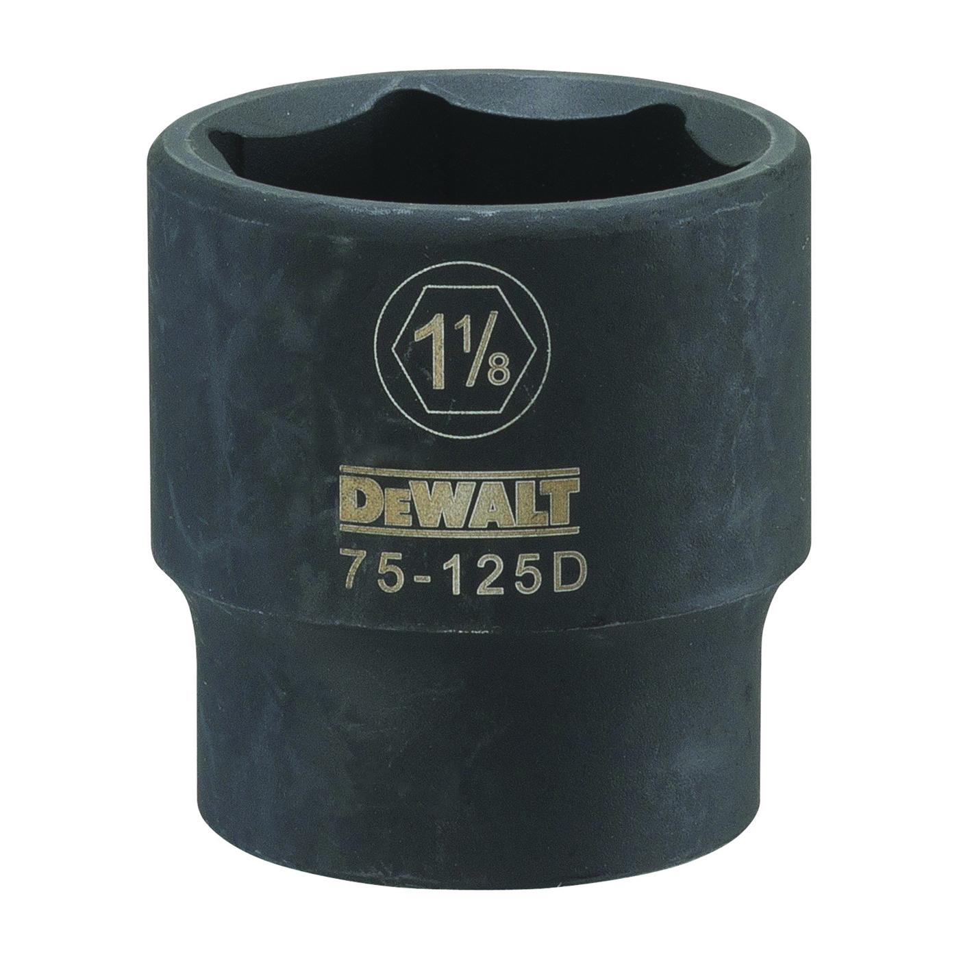 Picture of DeWALT DWMT75125OSP Deep Impact Socket, 1-1/8 in Socket, 1/2 in Drive, 6 -Point, Steel, Black Oxide