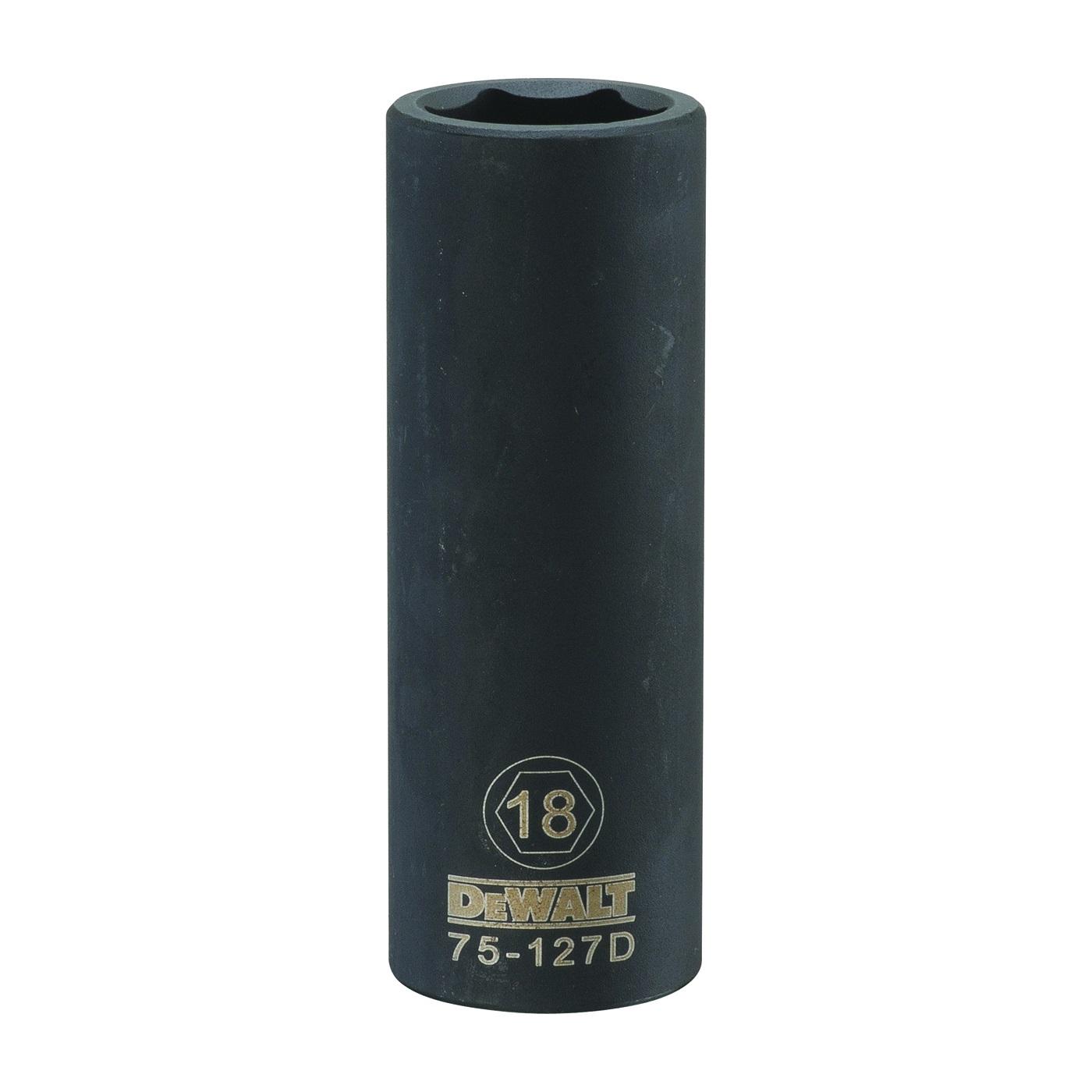 Picture of DeWALT DWMT75127OSP Deep Impact Socket, 18 mm Socket, 1/2 in Drive, 6 -Point, Vanadium Steel, Chrome