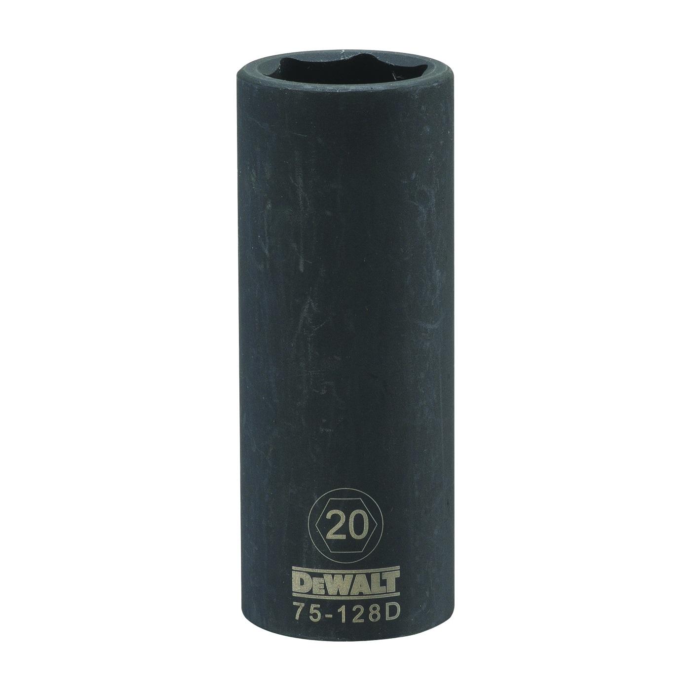 Picture of DeWALT DWMT75128OSP Deep Impact Socket, 20 mm Socket, 1/2 in Drive, 6 -Point, Steel, Black Oxide
