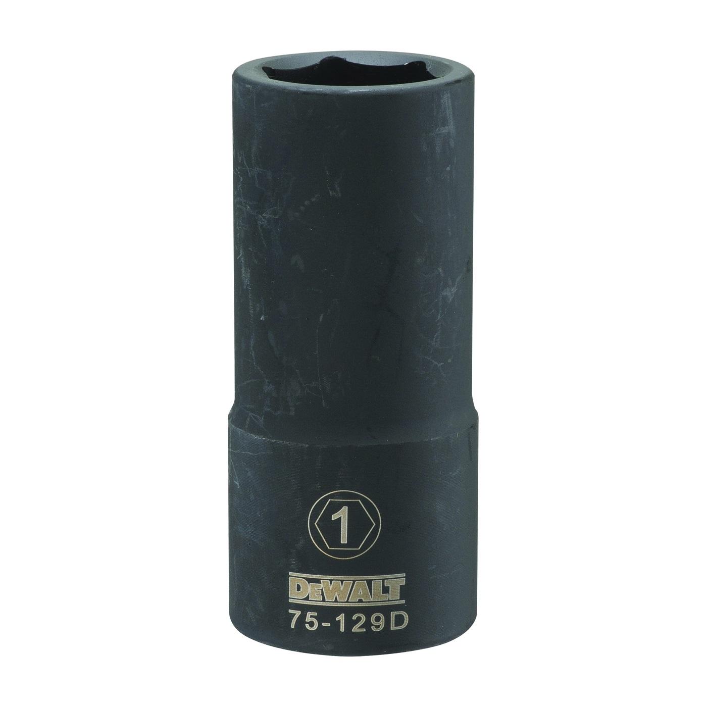 Picture of DeWALT DWMT75129OSP Impact Socket, 1 in Socket, 3/4 in Drive, 6 -Point, CR-440 Steel, Black Oxide