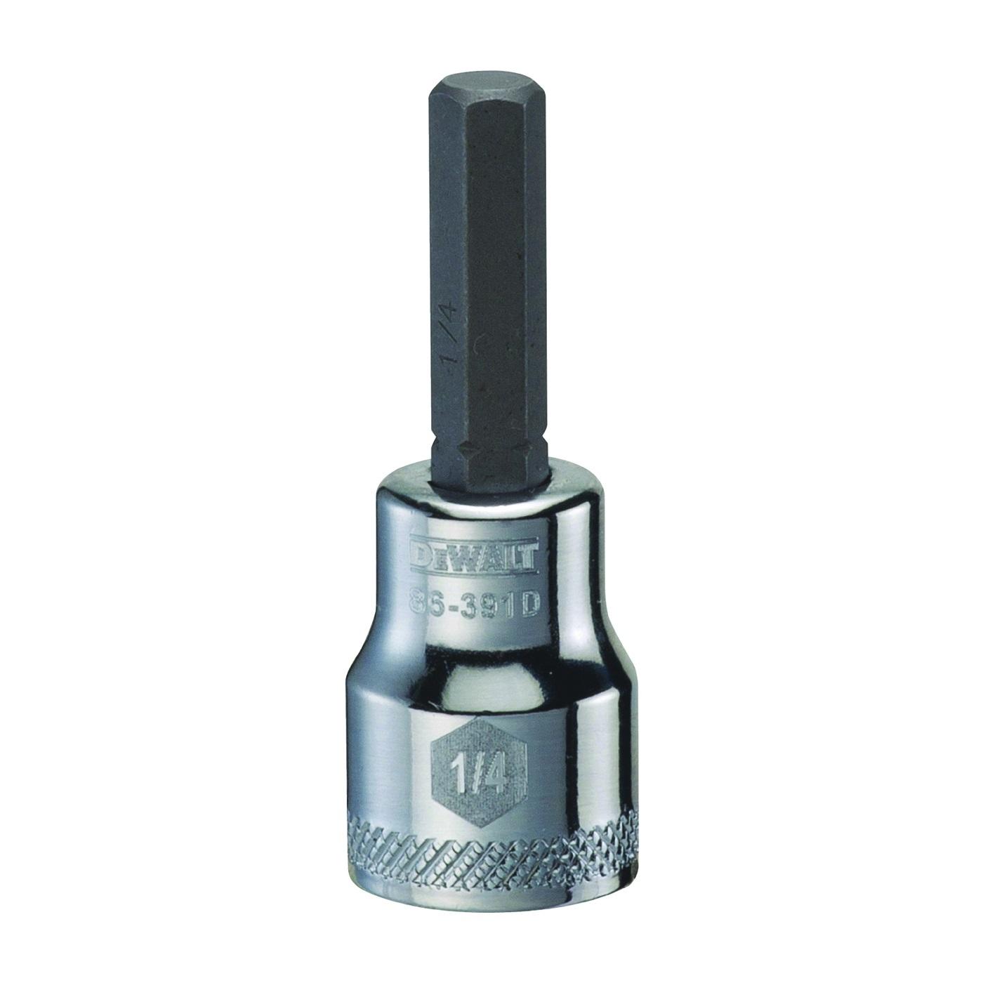 Picture of DeWALT DWMT86391OSP Fractional Hex Bit Socket, 1/4 in Tip, 3/8 in Drive, Polished Chrome Vanadium, 1-31/32 in OAL