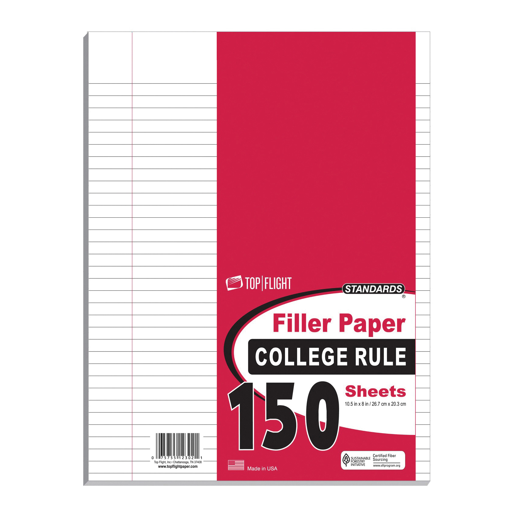 Picture of TOP FLIGHT 4314212 Filler Paper, 10-1/2 in x 8 in, White, 150 Sheets