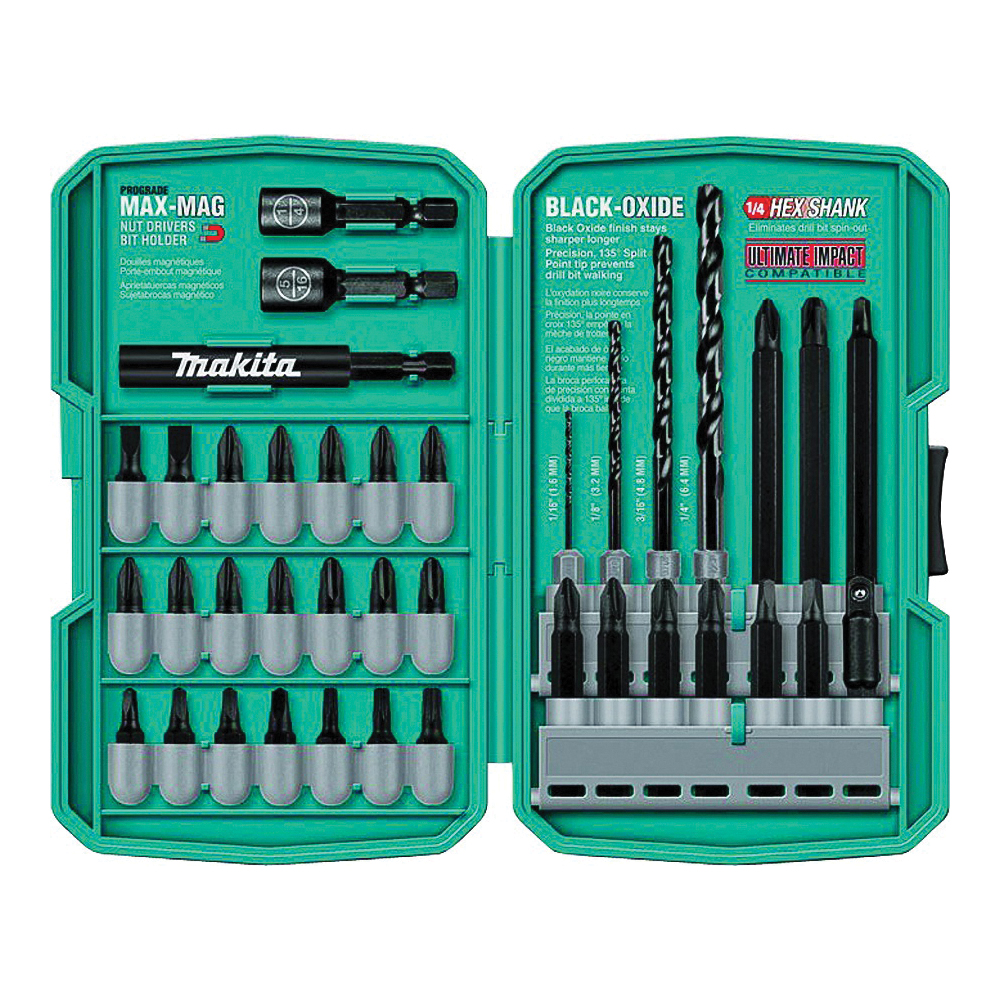 Picture of Makita T-01373 Drill/Drive Bit Set, 38 -Piece, Steel, Black Oxide
