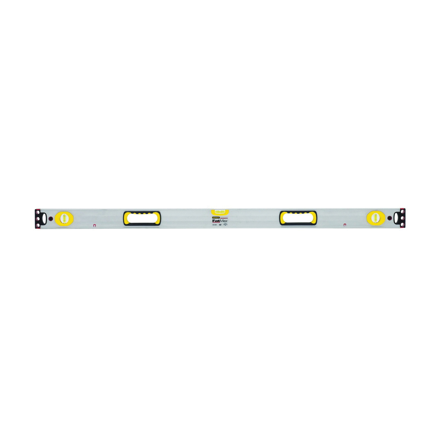 Picture of STANLEY 43-549 Box Beam Level, 48 in L, 3 -Vial, 2 -Hang Hole, Magnetic, Aluminum, Silver/Yellow