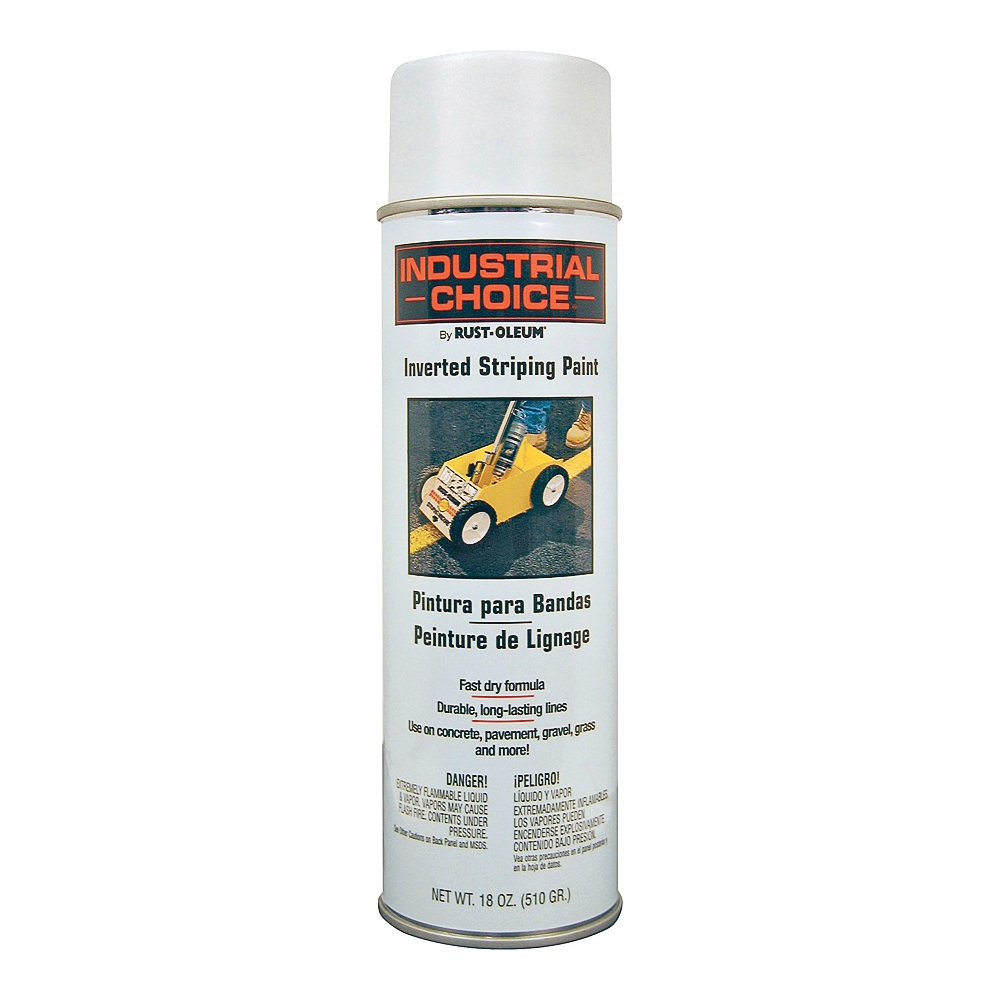 Picture of RUST-OLEUM INDUSTRIAL CHOICE 1691838 Inverted Striping Paint, Flat/Matte, White, 18 oz, Aerosol Can