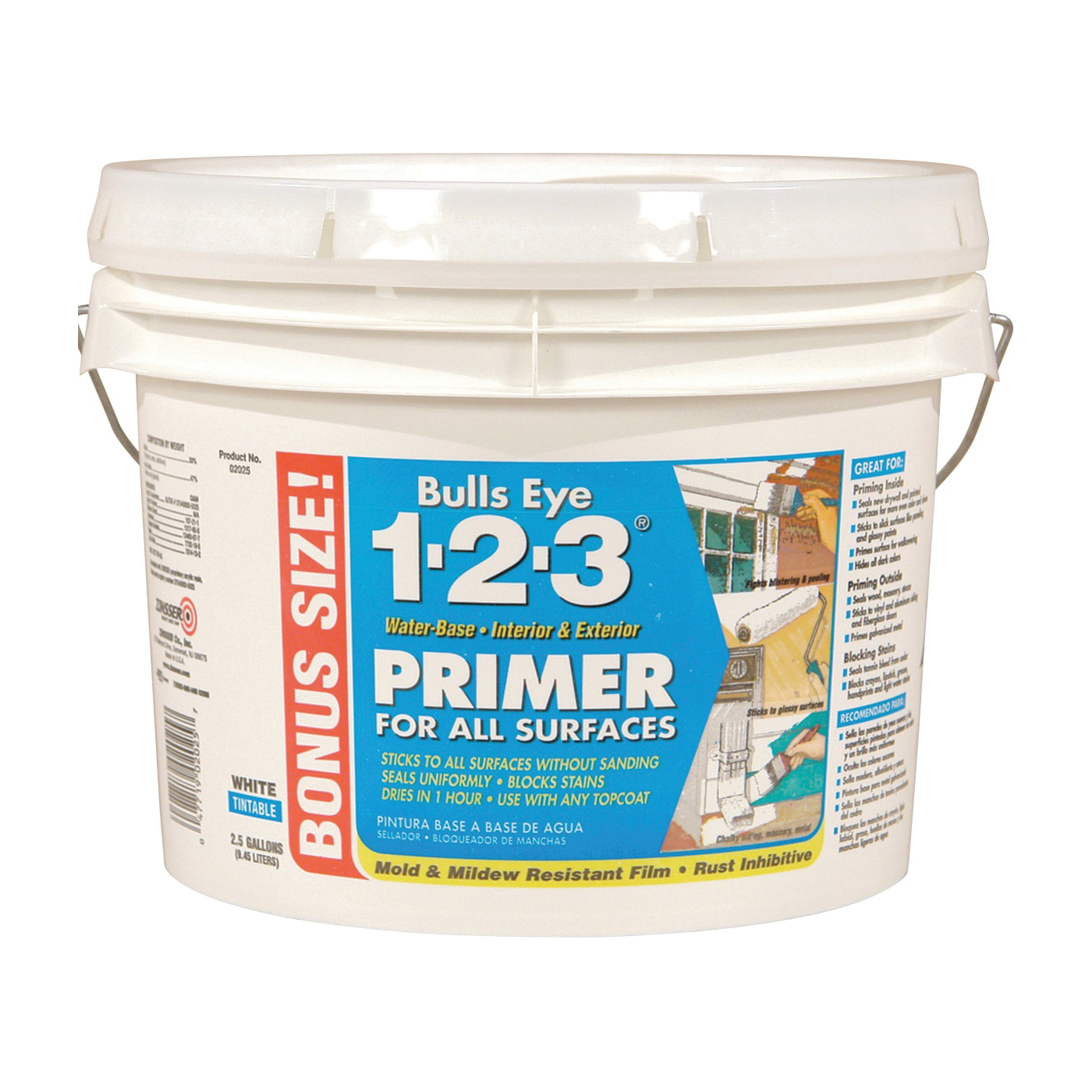 Picture of ZINSSER 02025 Primer, Egg Shell, White, 2.5 gal