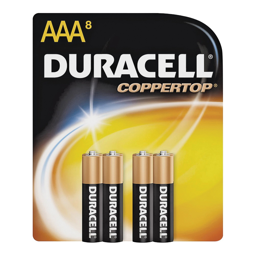 Picture of DURACELL MN2400B8Z Alkaline Battery, 1.5 V Battery, 1.15 Ah, AAA Battery, Manganese Dioxide, 8/PK
