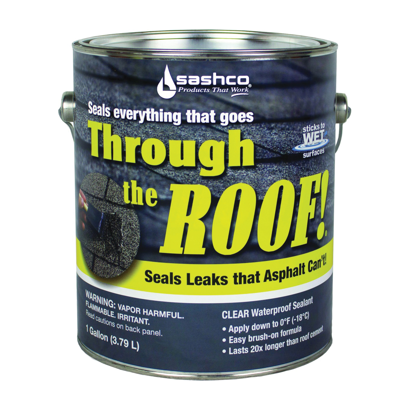 Picture of Through The Roof! 14024 Cement and Patching Sealant, Clear, Liquid, 1 gal Package, Container