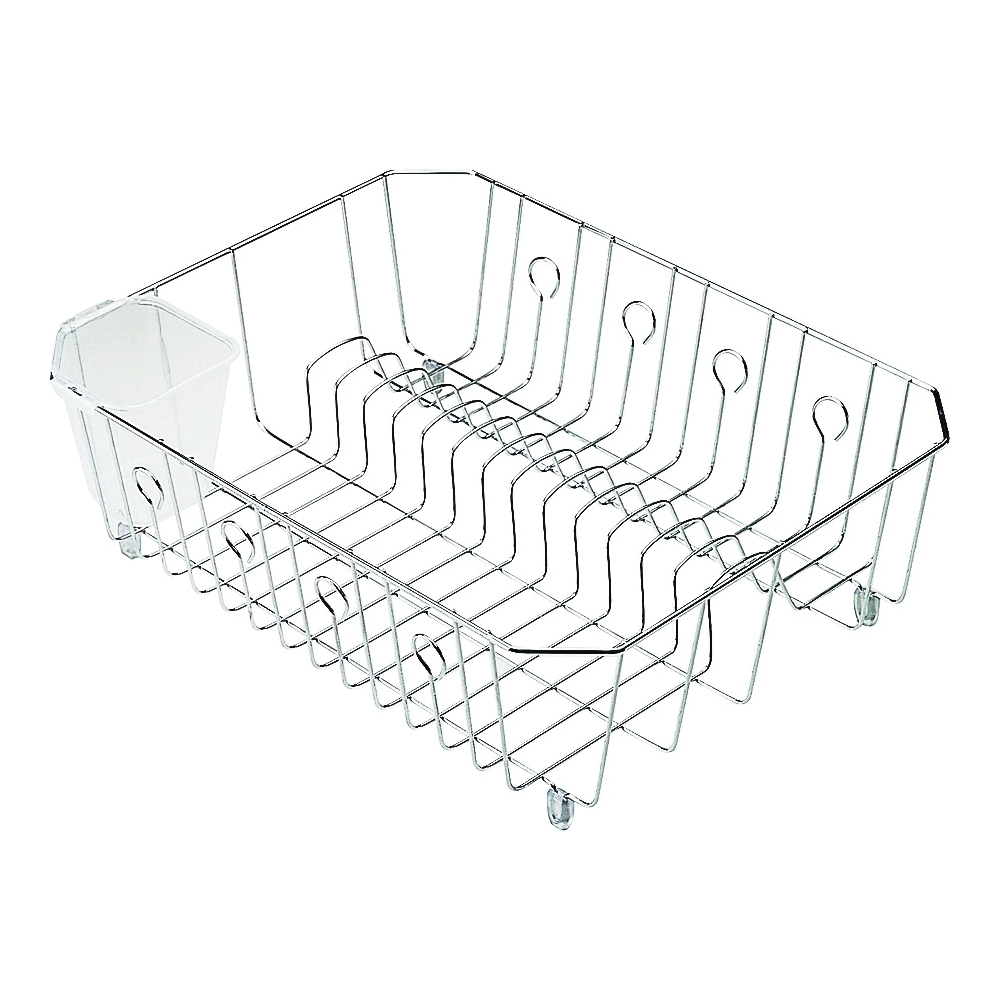 Picture of Rubbermaid 6008ARCHROM Wire Dish Drainer, 13 Dishes Capacity, 14.31 in L, 12.49 in W, 5.39 in H, Chrome