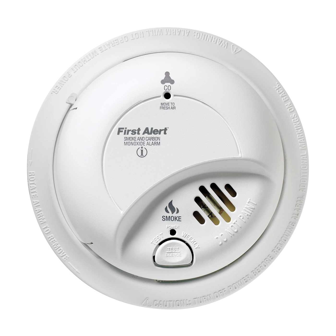Picture of FIRST ALERT SCO2B Single Gas Detector, 10 ft, 85 dB, Alarm: Audible/Visual, Electrochemical Sensor, White