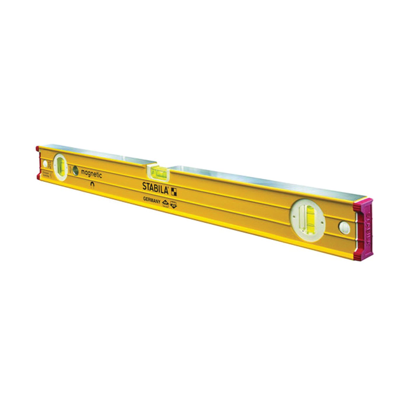 Picture of Stabila 38624 I-Beam Level, 24 in L, 3 -Vial, Magnetic, Aluminum, Yellow