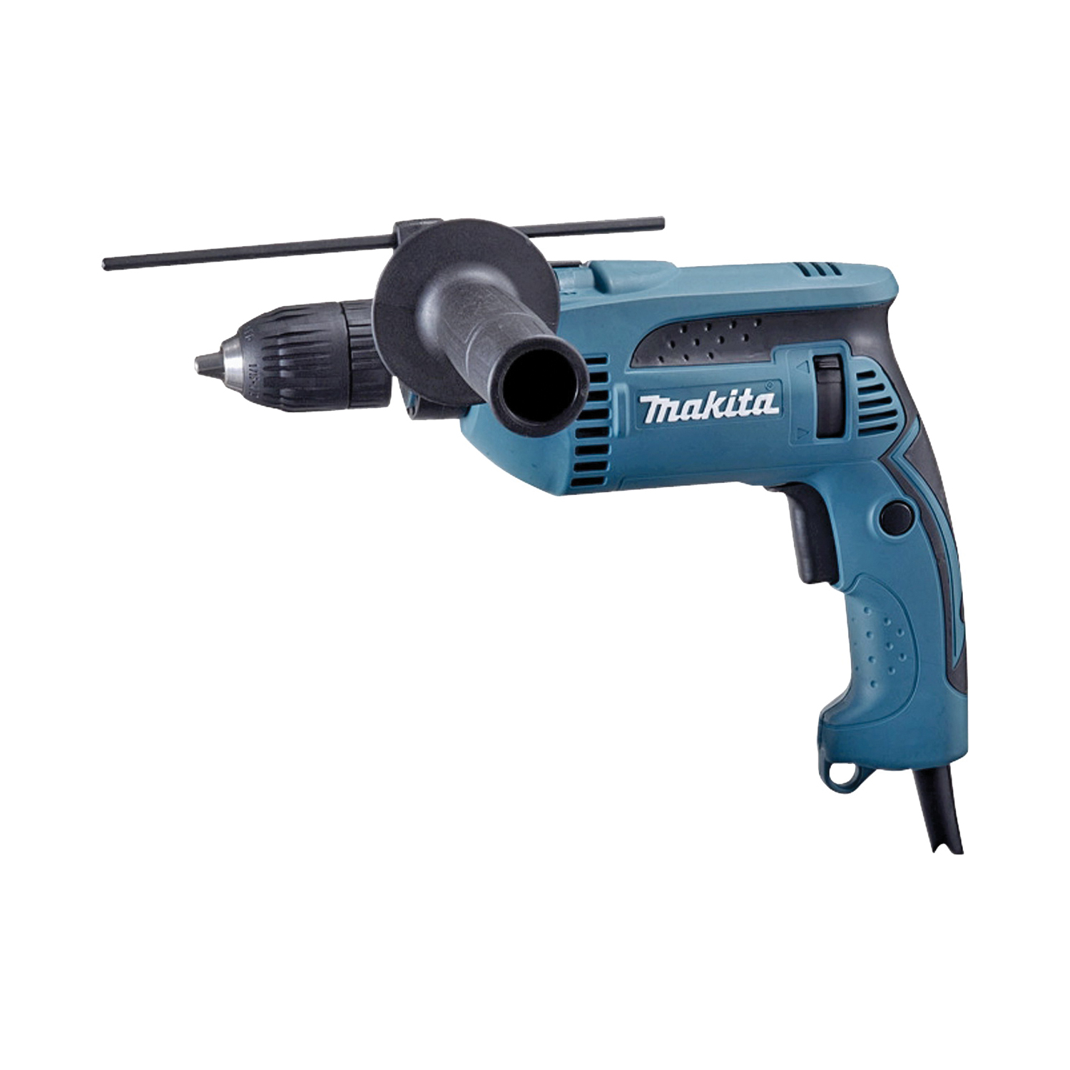 Picture of Makita HP1641K Hammer Drill, 120 V, 6 A, 1/2 in Steel, 1-3/16 in Wood, 5/8 in Concrete Drilling, 1/2 in Chuck