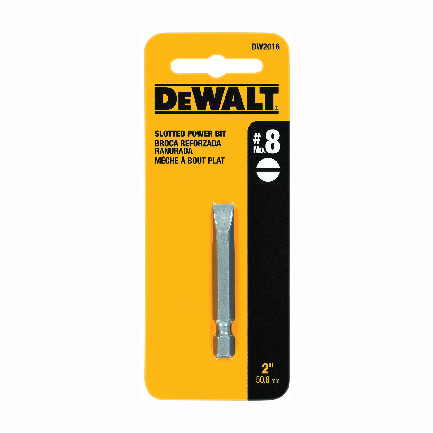Picture of DeWALT DW2016 Power Bit, #8 Drive, Slotted Drive, 1/4 in Shank, Hex Shank, 2 in L, Steel