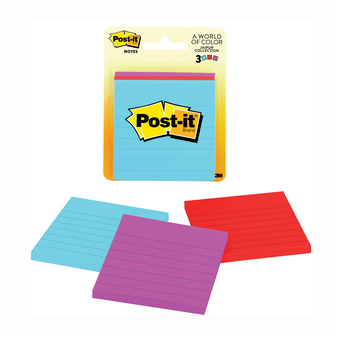 Picture of Post-it Ultra 6301 Lined Sticky Notes, 3 x 3 in, Assorted, 50-Sheet