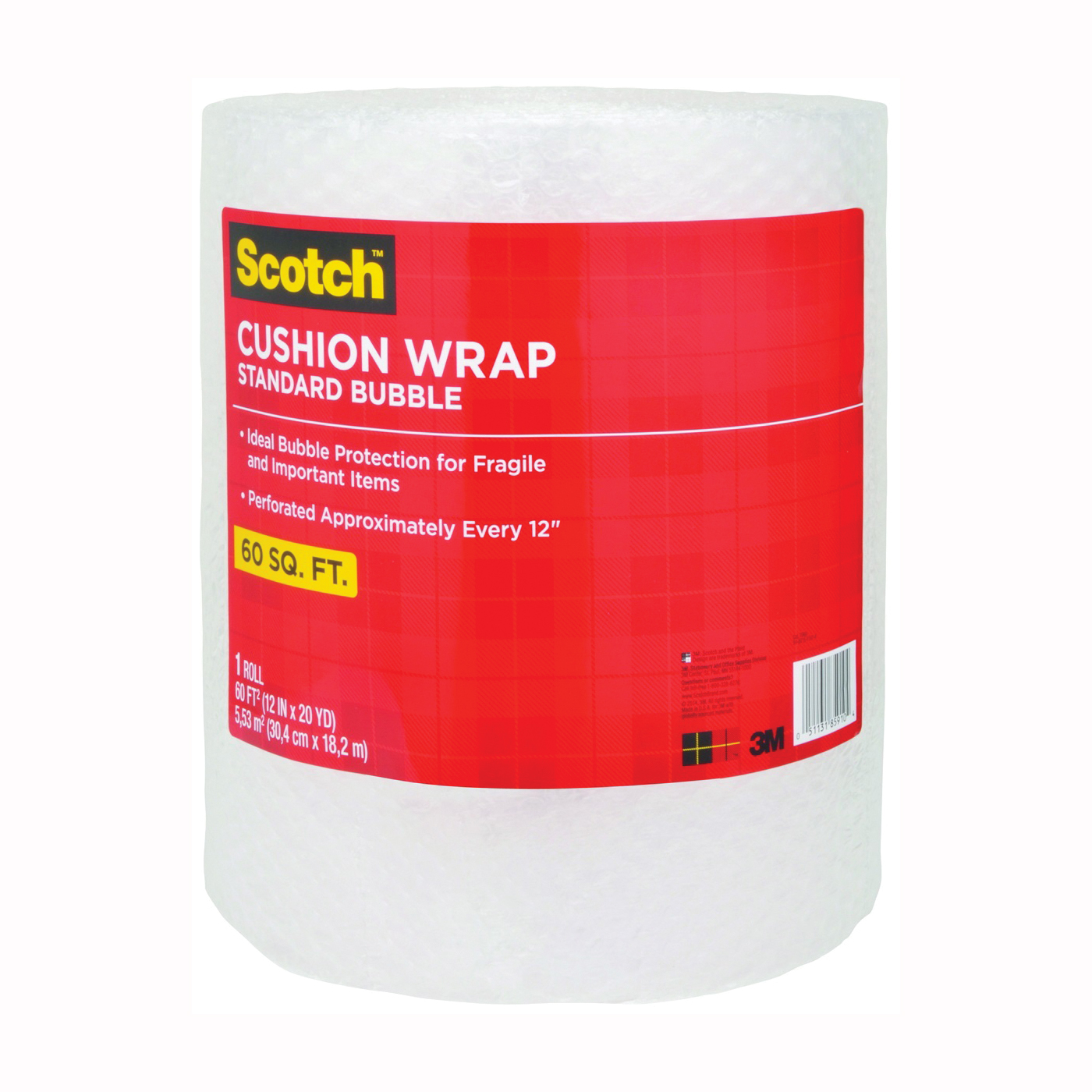 Picture of Scotch 7960 Cushion Wrap, 60 ft L, 12 in W, Nylon/Polyethylene, Clear