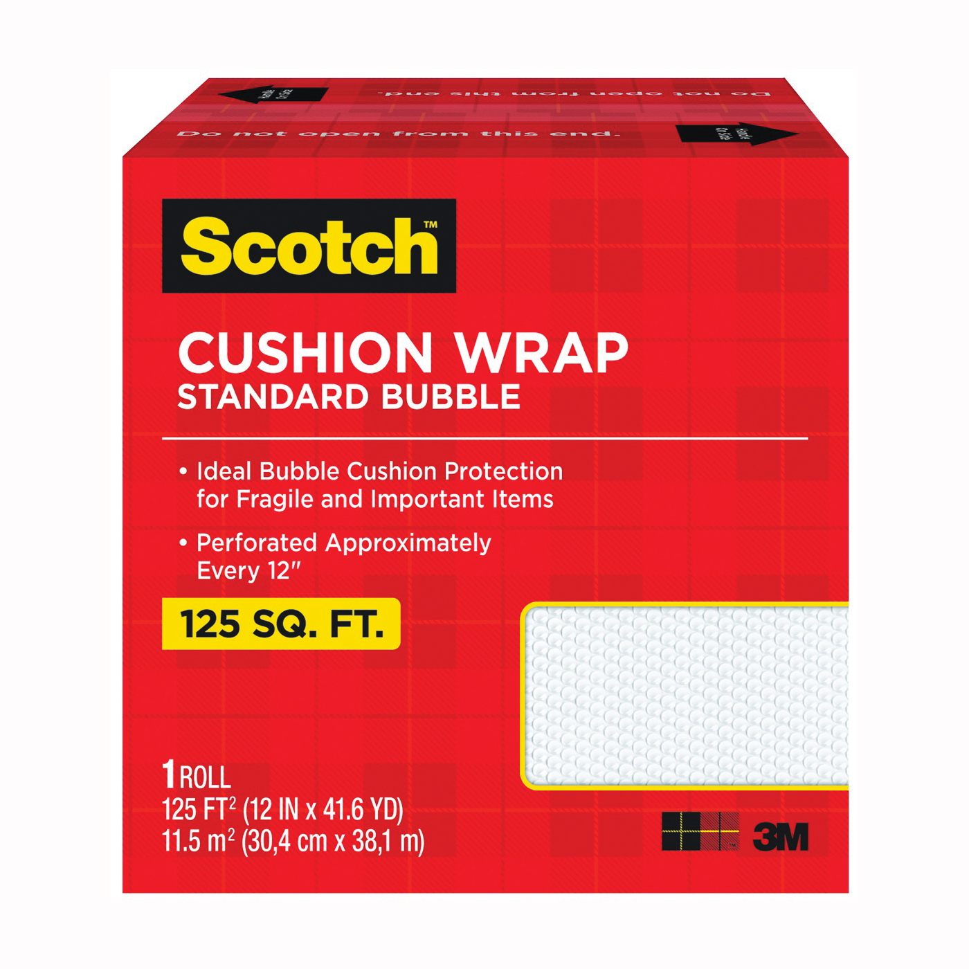 Picture of Scotch 7962 Cushion Wrap, 125 ft L, 12 in W, Nylon/Polyethylene, Clear