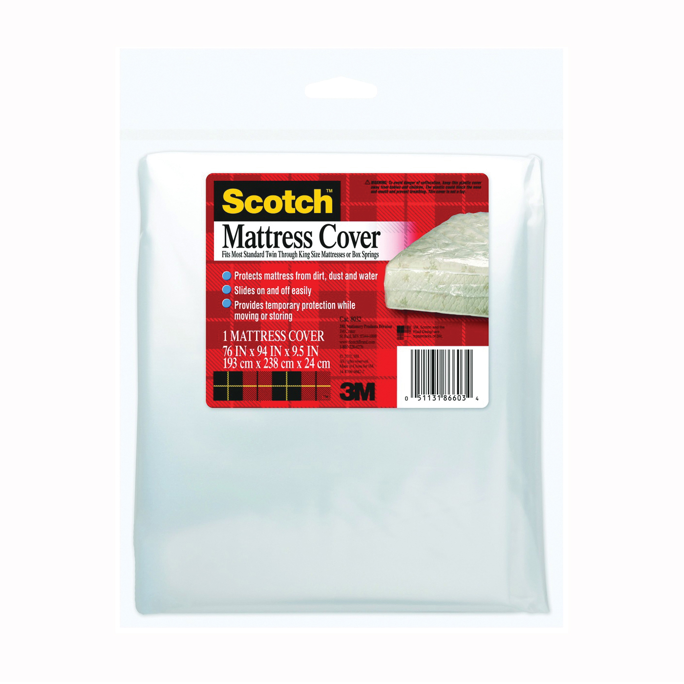 Picture of Scotch 8032 Mattress Cover, Clear, For: Standard Mattresses, Box Springs