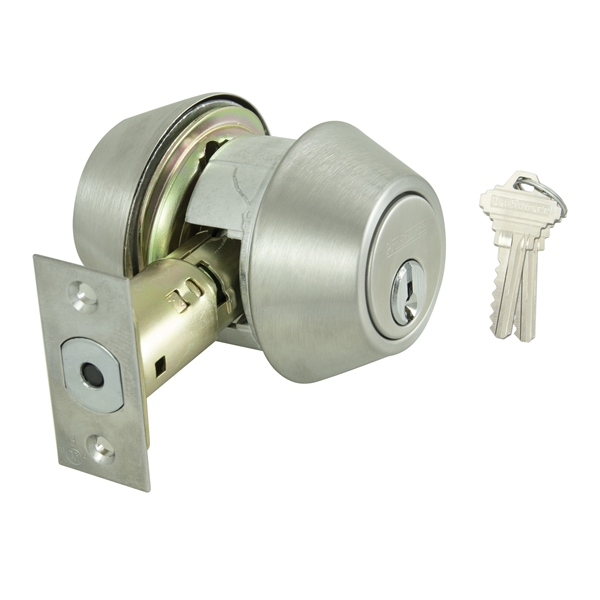 Picture of ProSource D762V-PS Deadbolt, Keyed Different Key, Solid Brass, Satin, 2-3/4 x 1-1/8 in Backset, SC1 Keyway