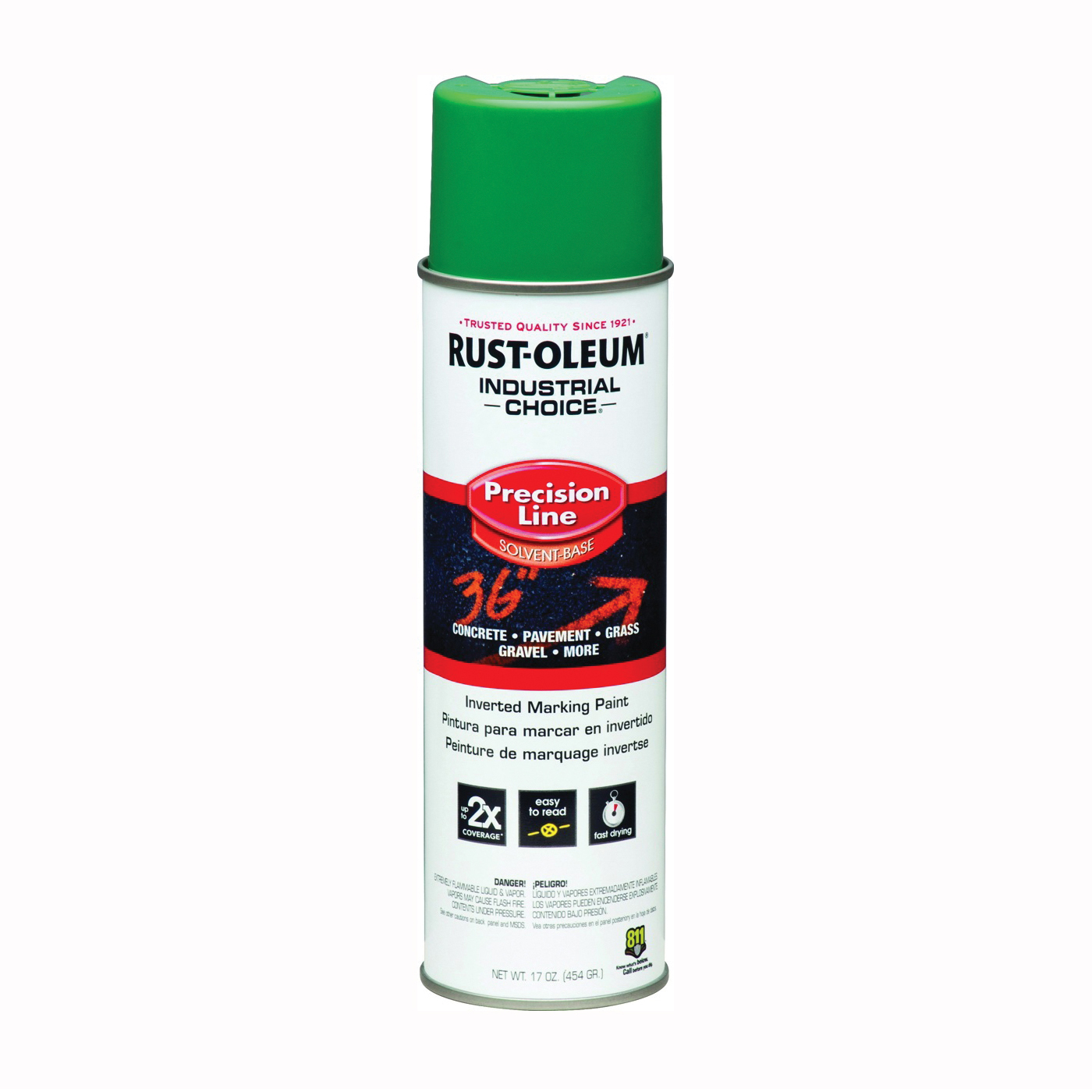 Picture of RUST-OLEUM INDUSTRIAL CHOICE 1634838 Marking Paint, Gloss, Safety Green, 17 oz, Aerosol Can