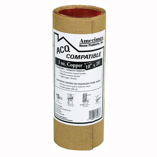Picture of Amerimax 85067 Copper Flashing Roll, 20 ft OAL, 10 in OAW, Copper