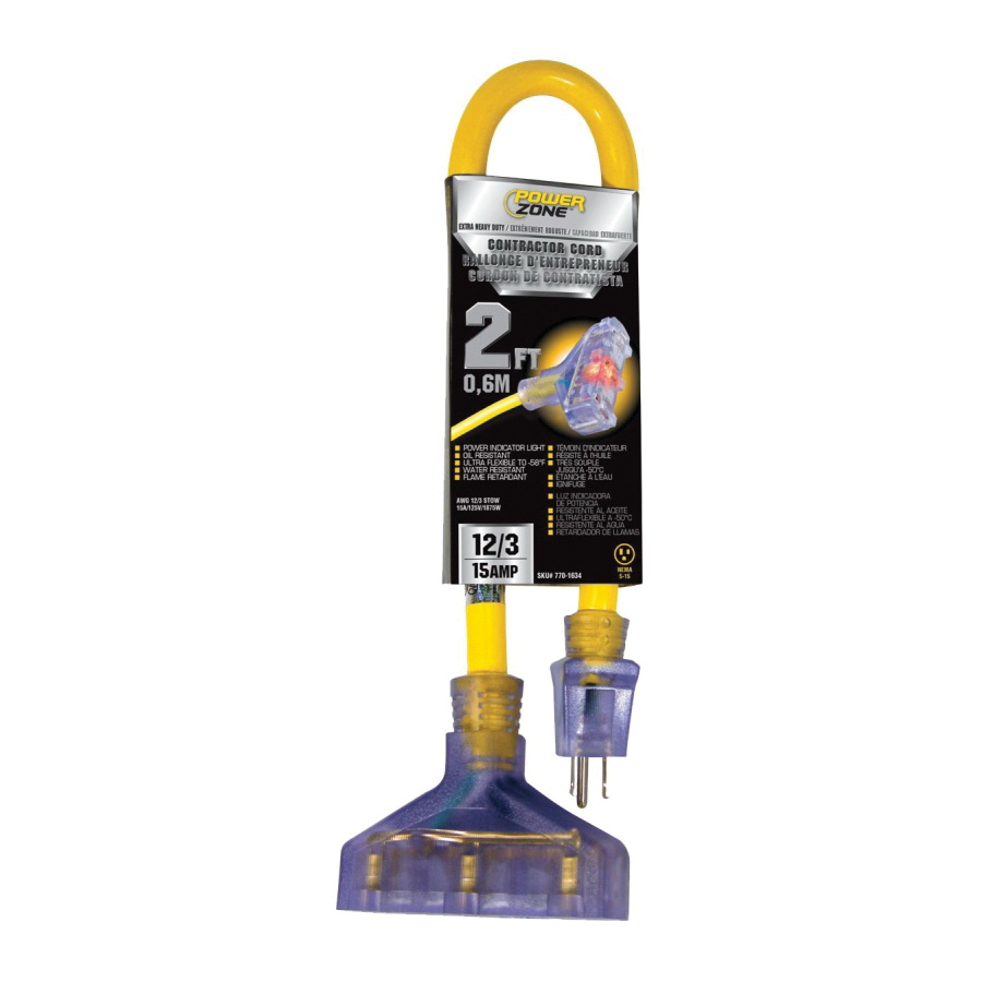 Picture of PowerZone ORADL611802 Contractor Cord, 12 AWG Cable, 2 ft L, 15 A, 125 V, Yellow Jacket