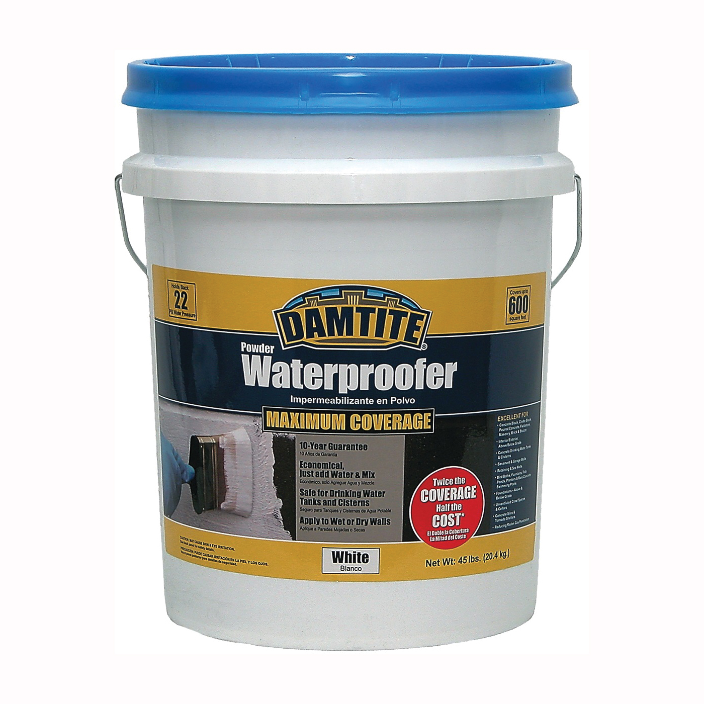 Picture of DAMTITE 01451 Powder Waterproofer, White, Powder, 45 lb Package, Pail