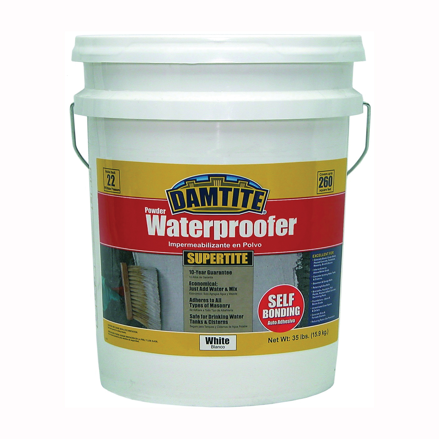 Picture of DAMTITE 01351 Powder Waterproofer, White, Powder, 35 lb Package, Pail