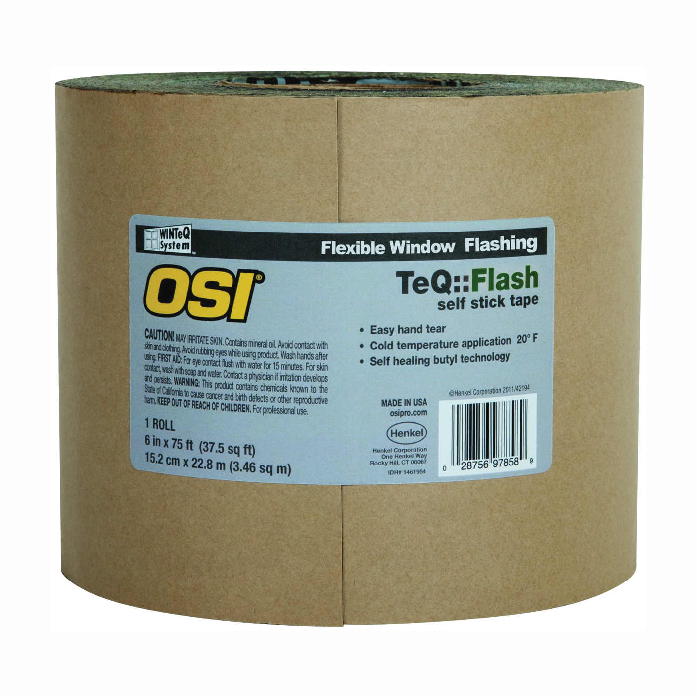 Picture of OSI Asphalt Flash 1866211 Window Flashing Tape, 100 ft L, 6 in W, Black, Self Adhesive