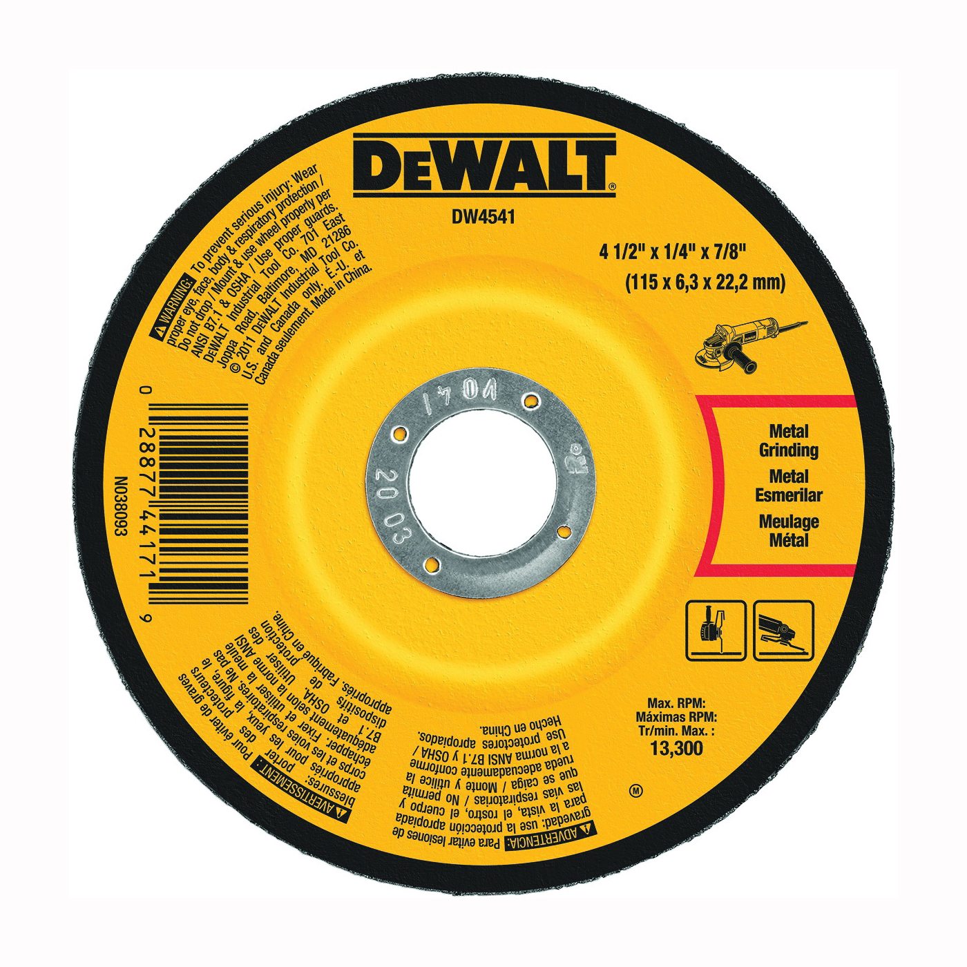 Picture of DeWALT DW4541 Grinding Wheel, 4-1/2 in Dia, 1/4 in Thick, 7/8 in Arbor, 24 Grit, Aluminum Oxide Abrasive