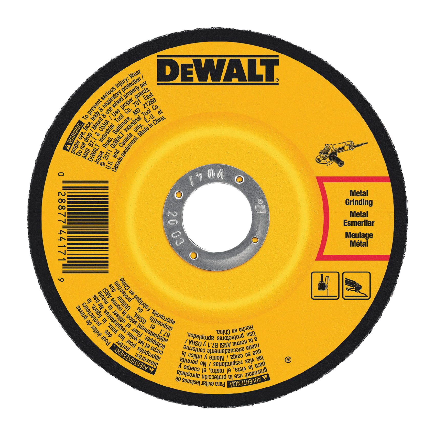 Picture of DeWALT DW4542 Grinding Wheel, 4-1/2 in Dia, 1/4 in Thick, 5/8-11 in Arbor, 24 Grit, Aluminum Oxide Abrasive
