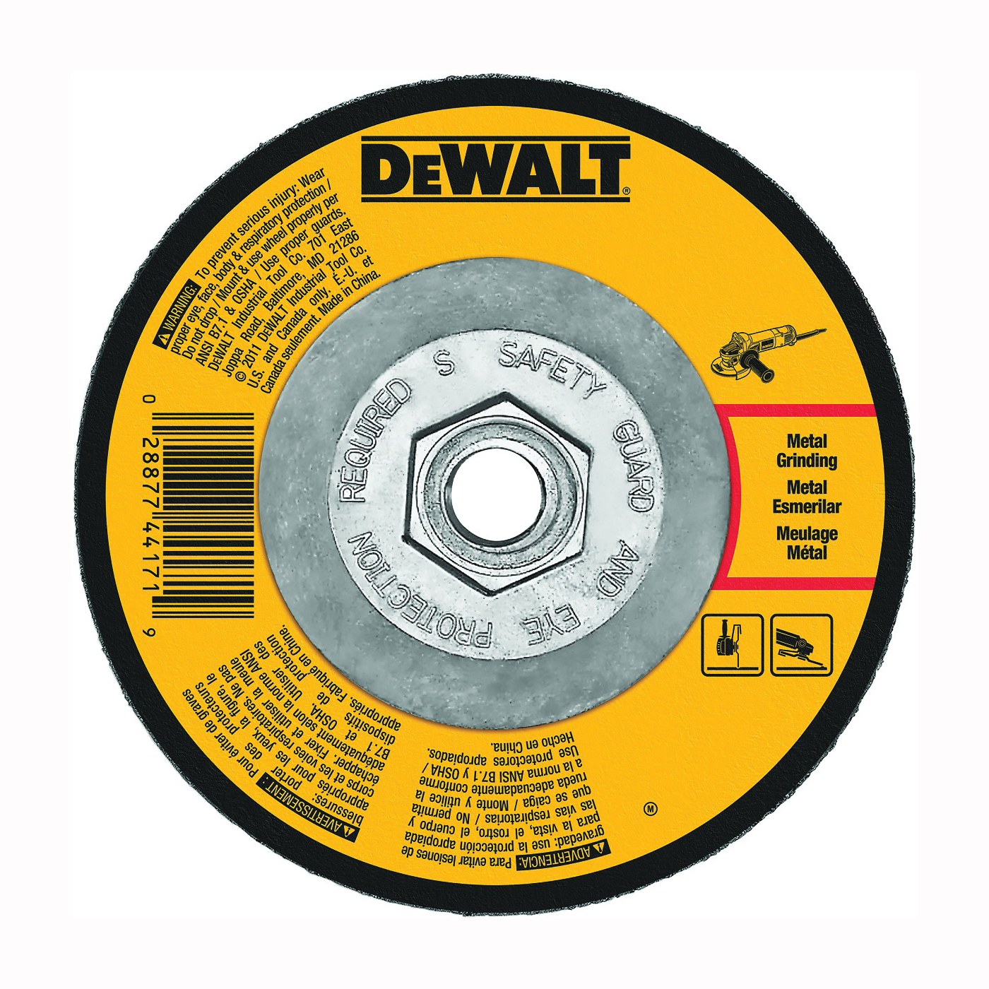 Picture of DeWALT DW4548 Grinding Wheel, 7 in Dia, 1/4 in Thick, 5/8-11 in Arbor, 24 Grit, Aluminum Oxide Abrasive