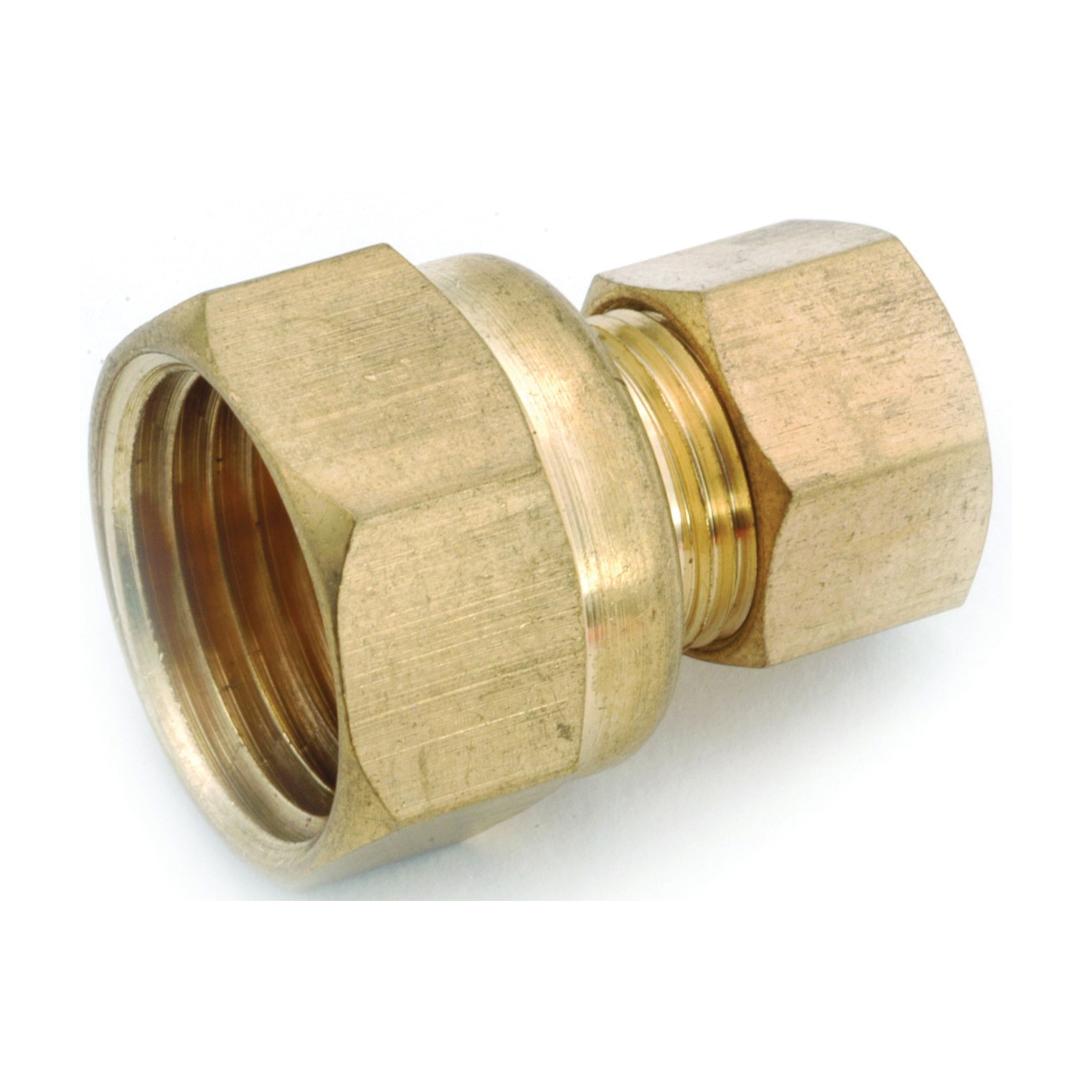Picture of Anderson Metals 750066-0406 Tubing Coupling, 1/4 x 3/8 in, Compression x FIP, Brass