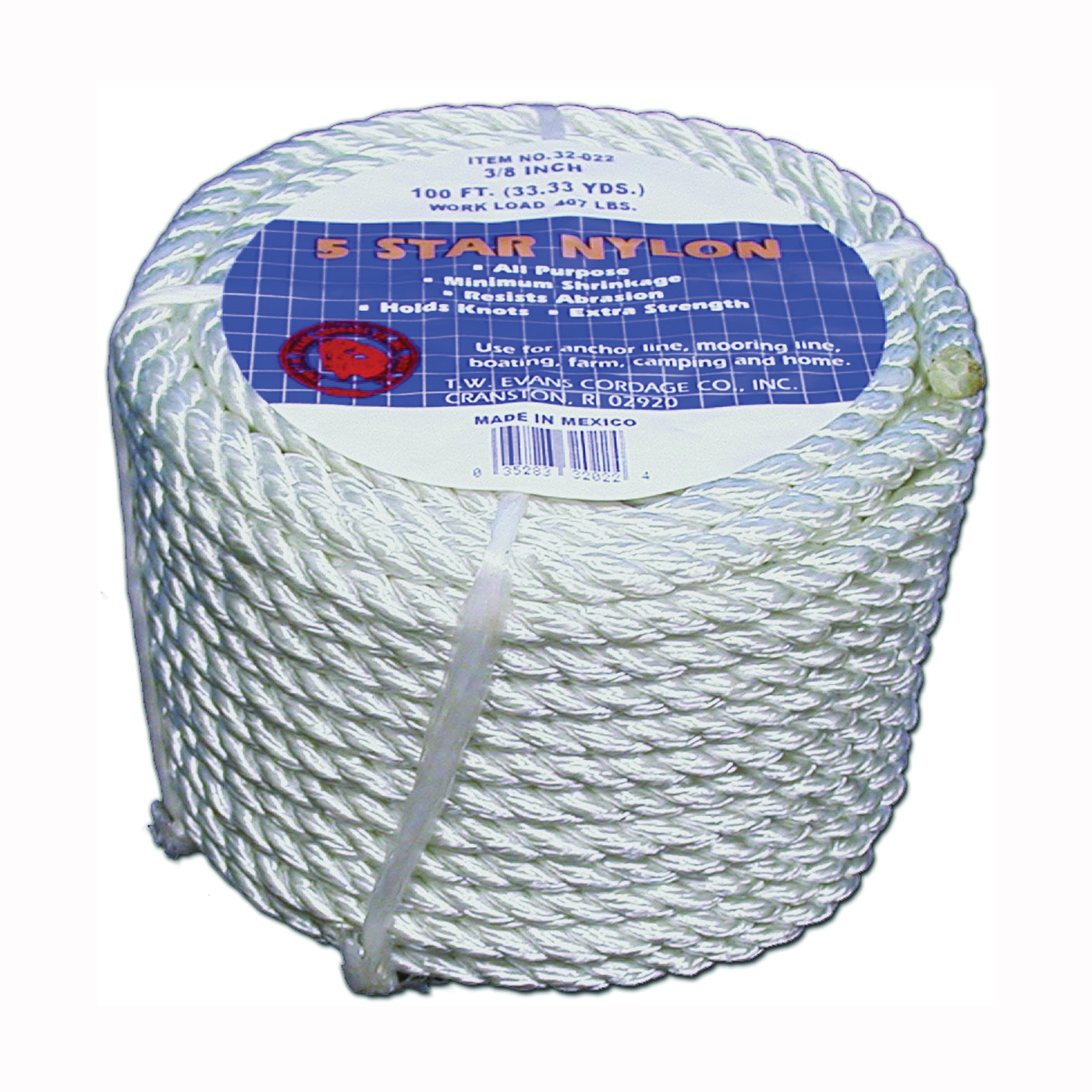 Picture of T.W. Evans Cordage 32-003 Rope, 1/2 in Dia, 50 ft L, Nylon, Natural White